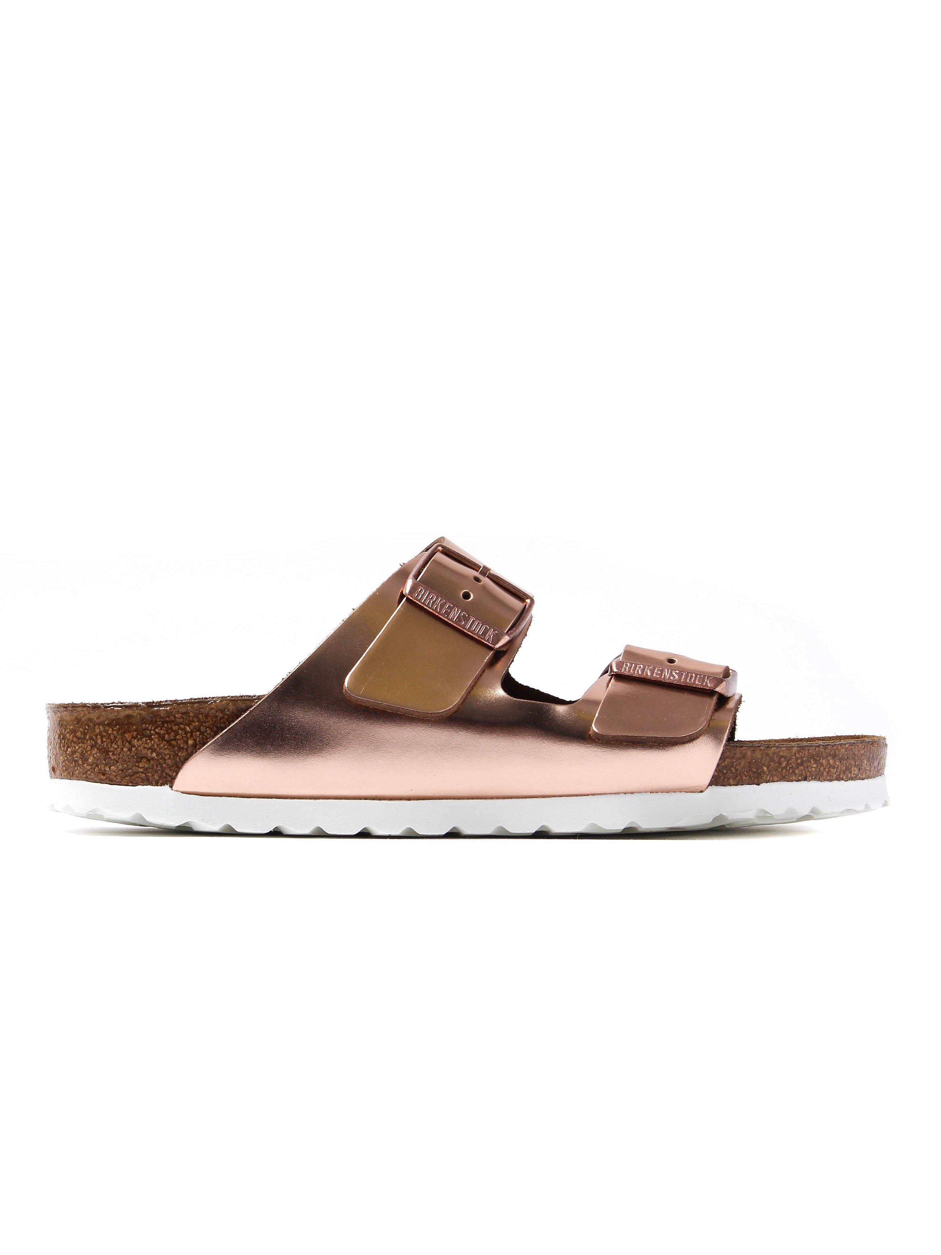 Birkenstock Women's Arizona Narrow Fit Sandals - Metallic Copper Leather