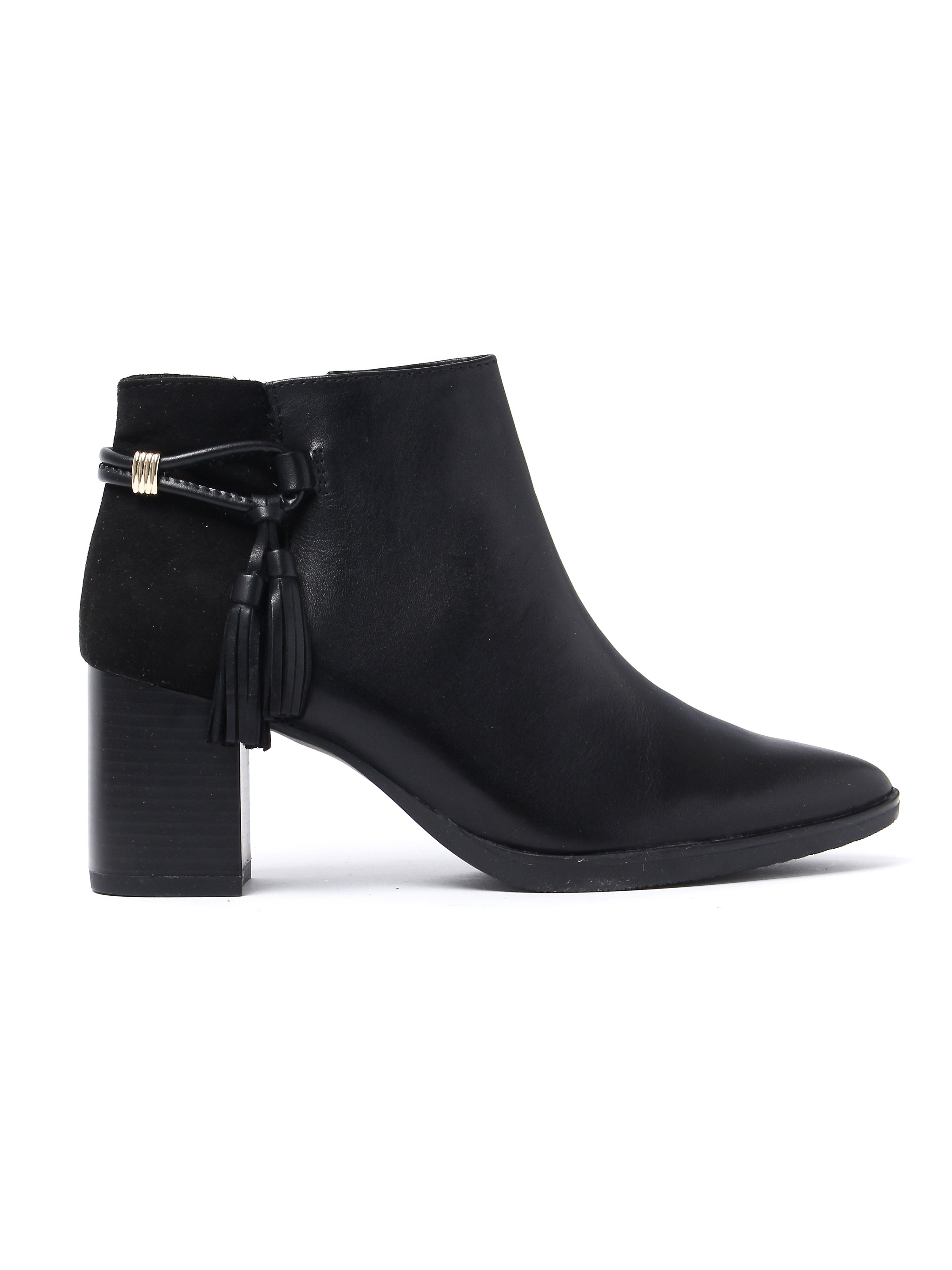 Caprice Women's Heeled Ankle Boots - Black Leather