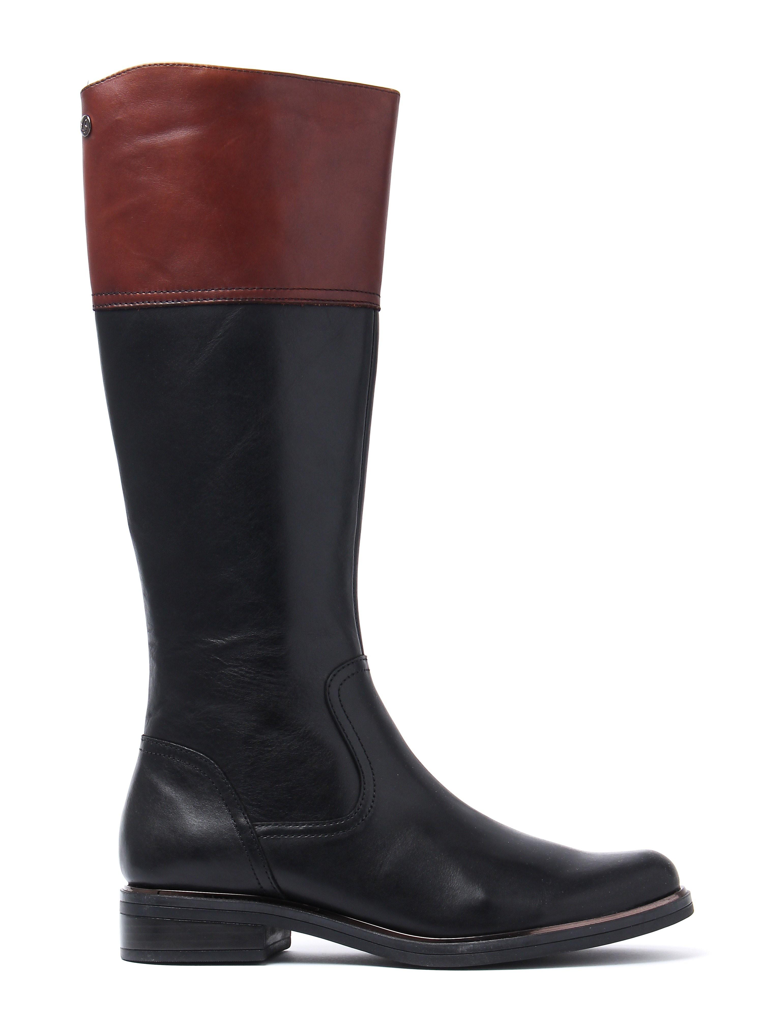 Caprice Women's Tall Combi Boots - Black & Cognac Leather