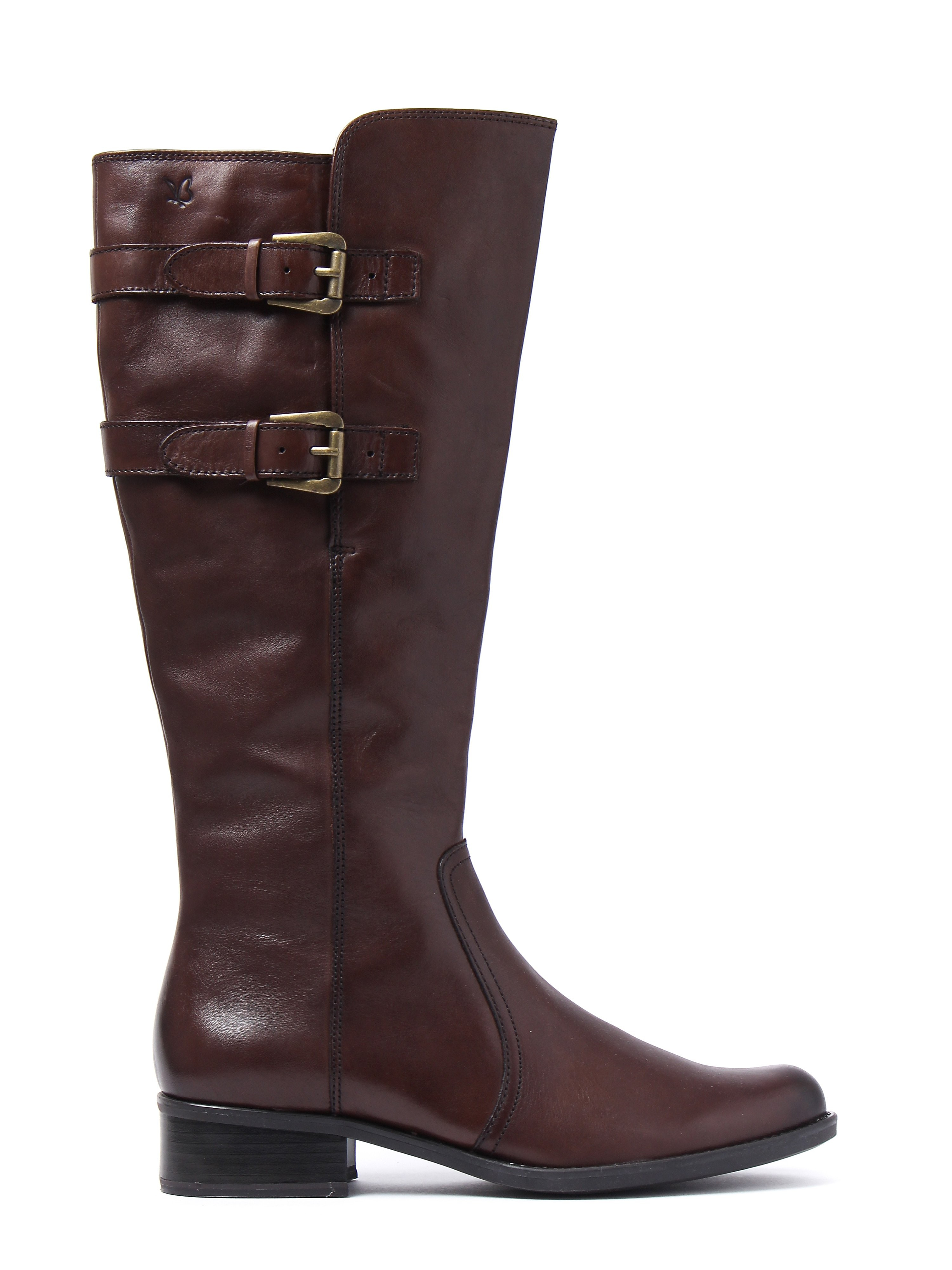 Caprice Women's Nappa Tall Buckle Boots - Dark Brown Leather