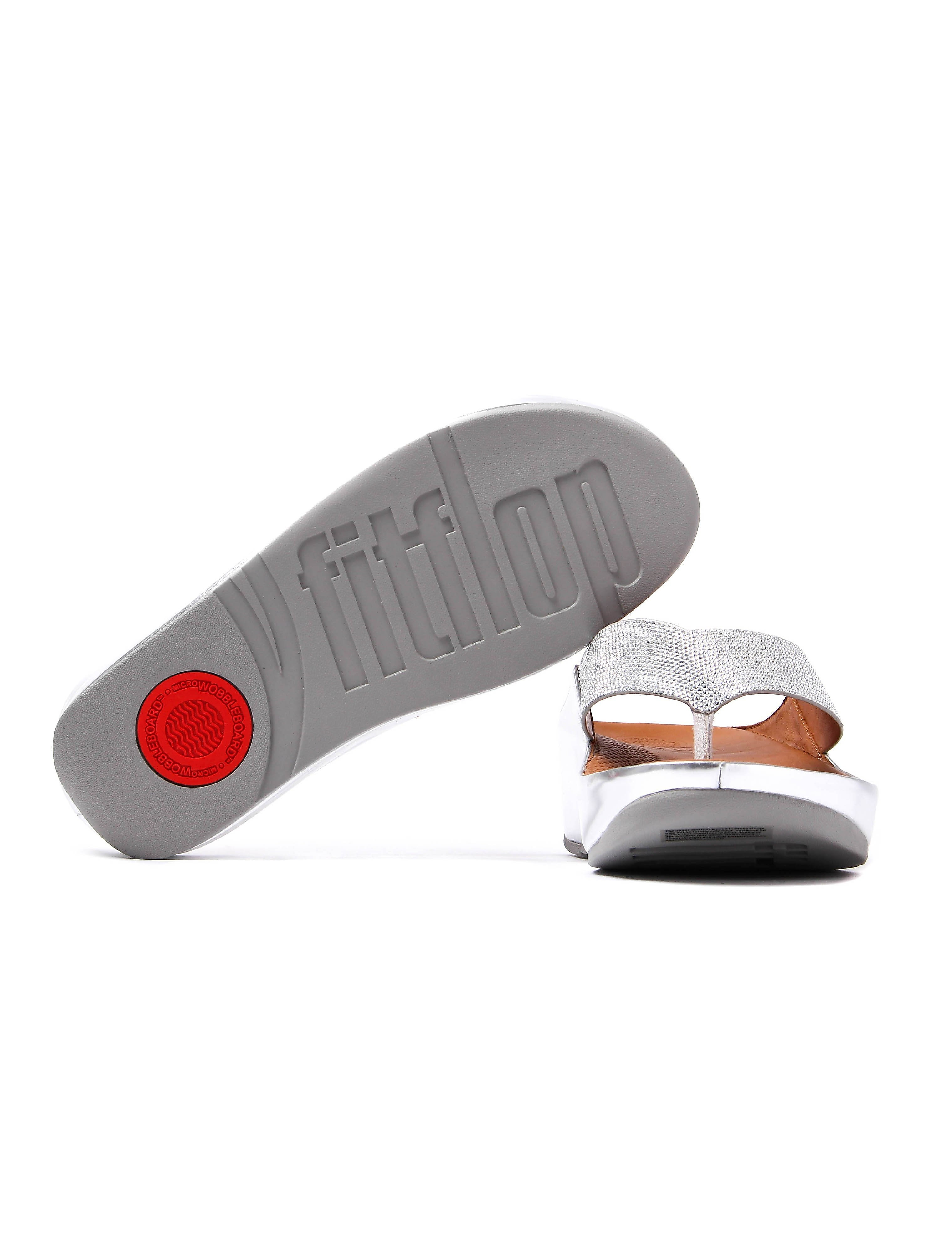 FitFlop Women's Crystall Toe-Post Slip On Sandals - Silver