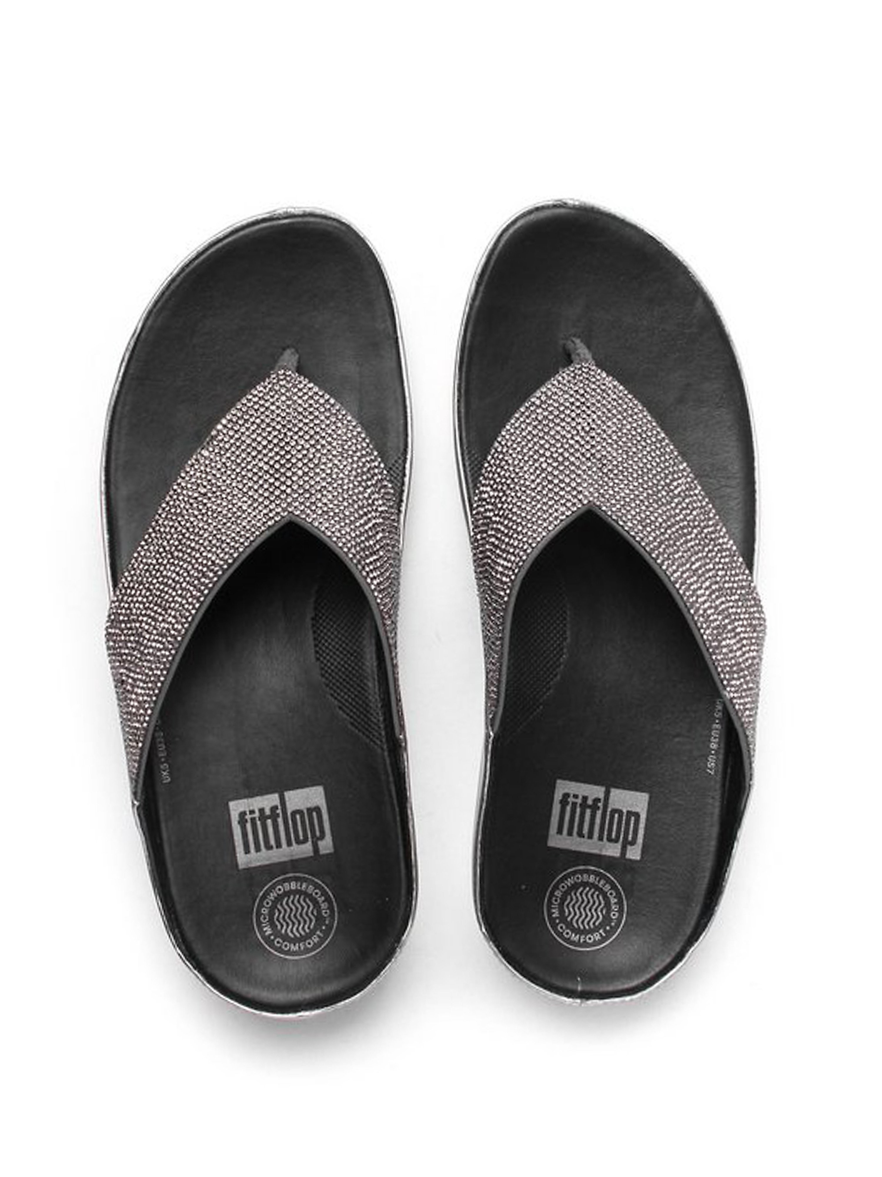 FitFlop Women's Crystall Toe-Post Slip On Sandals - Pewter