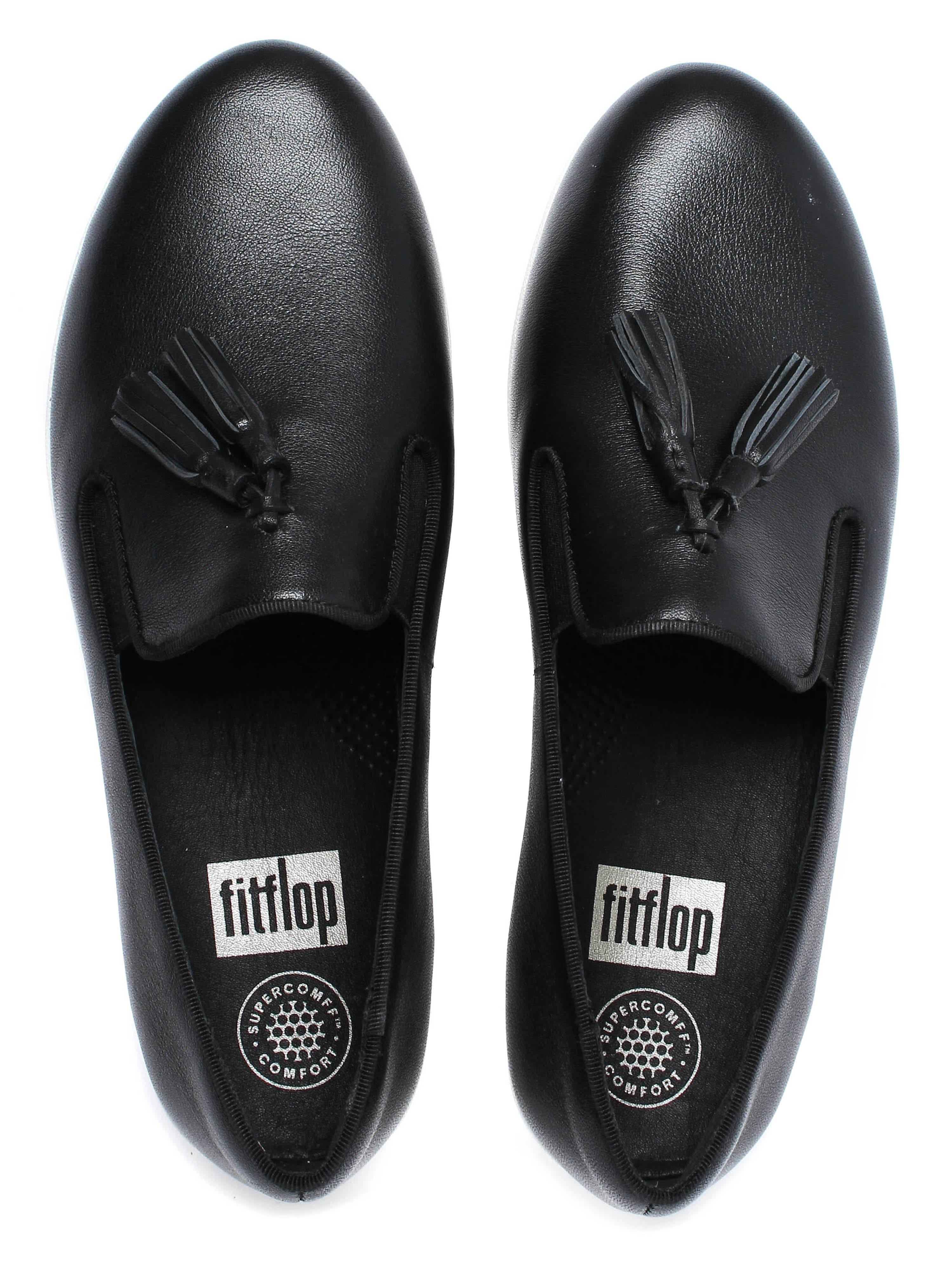 FitFlop Womens Tassel Superskate™ Shoe - Black Leather