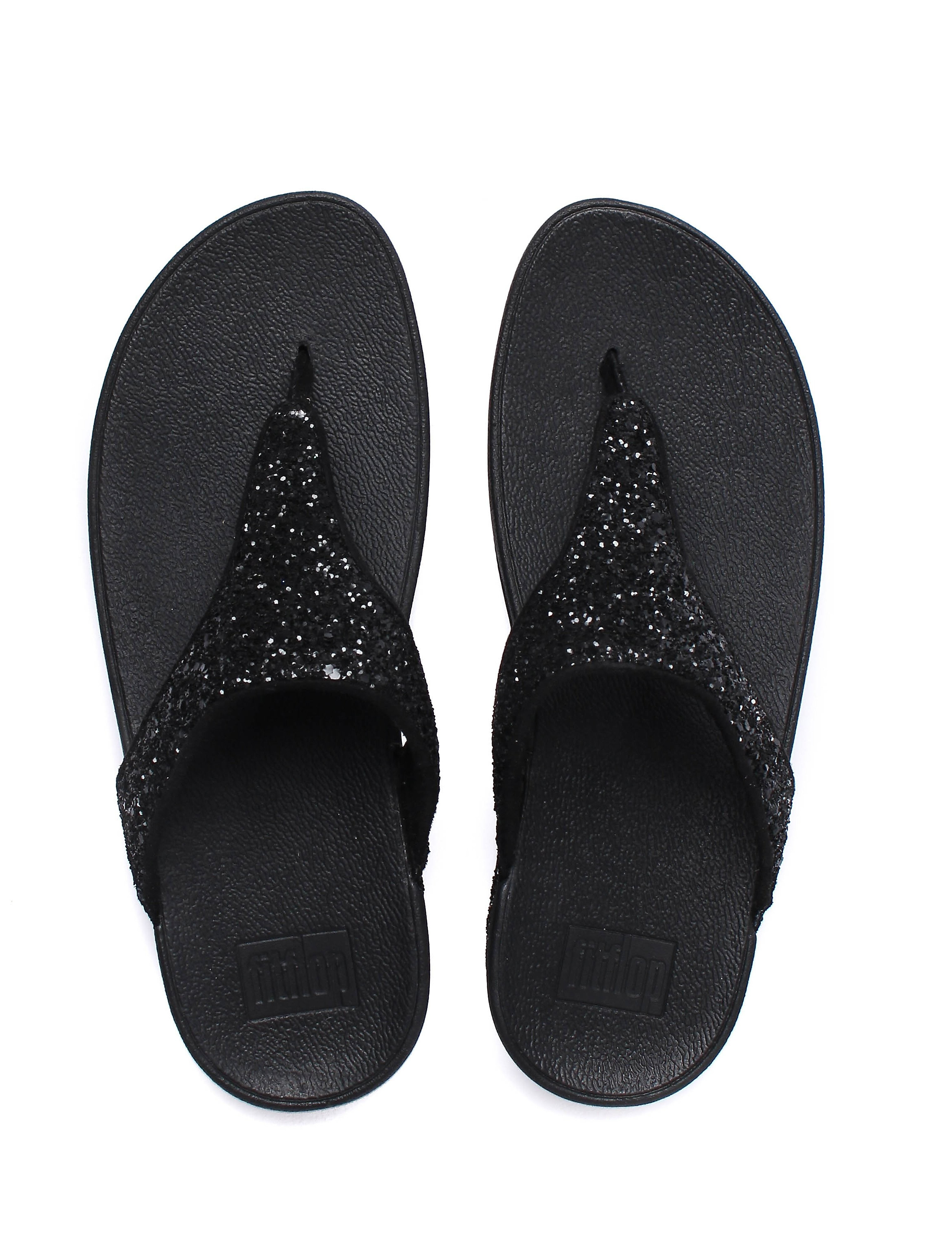 FitFlop Women's Glitterball Toe-Post Sandals - Black