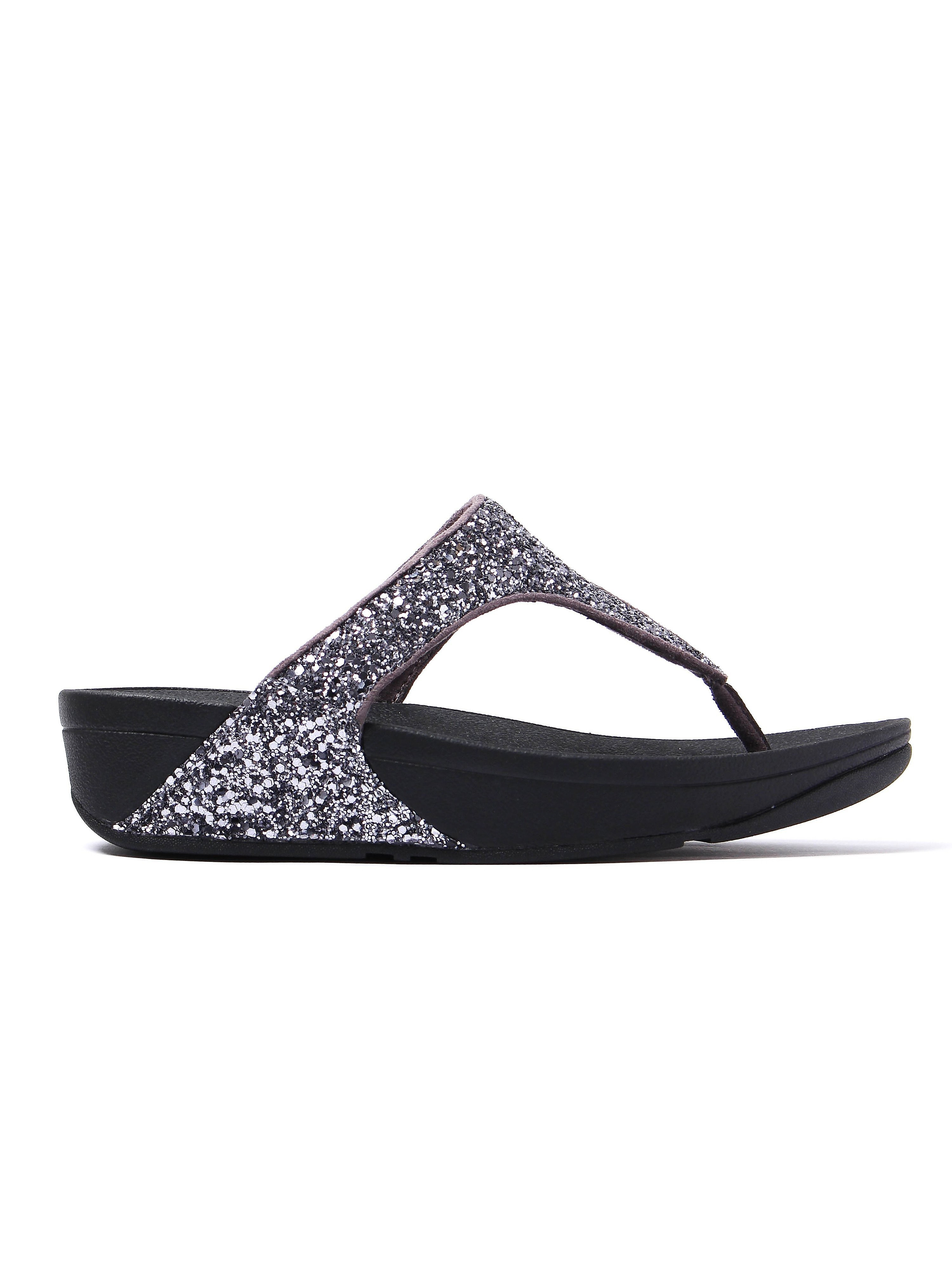 FitFlop Women's Glitterball Toe-Post Sandals - Pewter