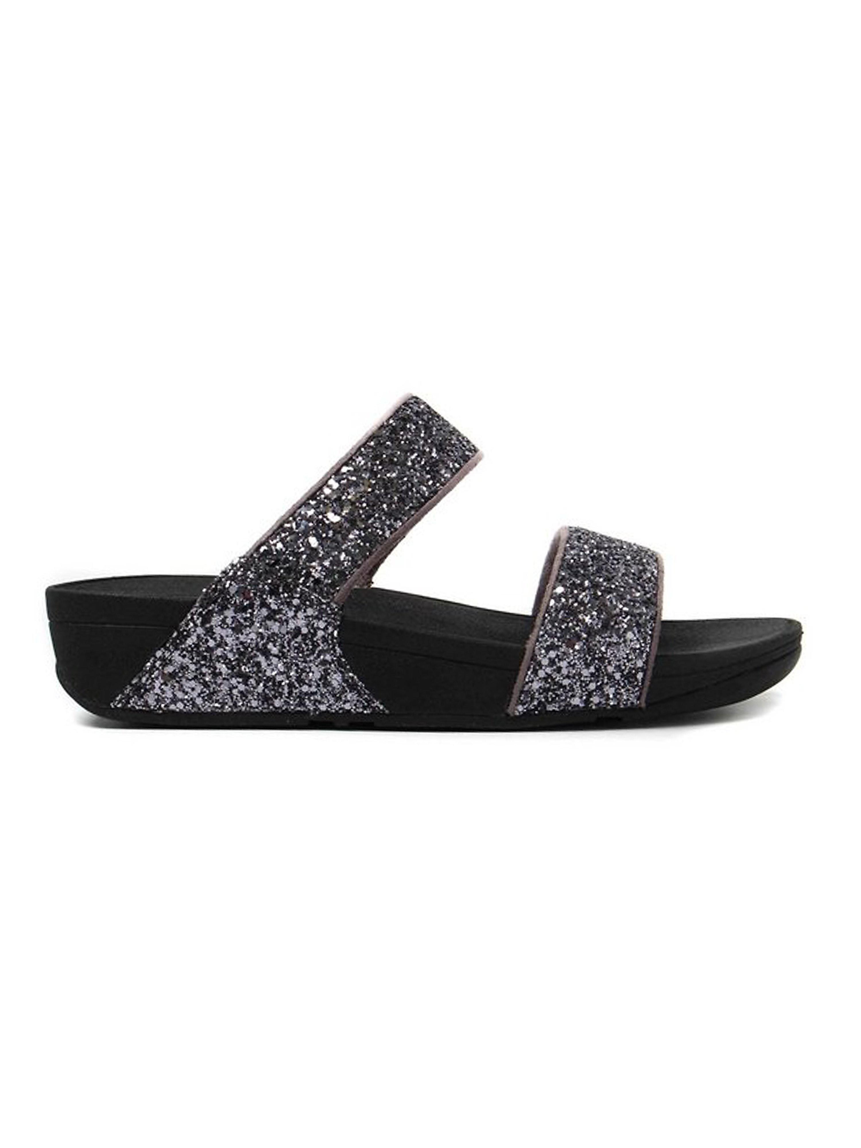 FitFlop Women's Glitterball Slide Sandals - Pewter