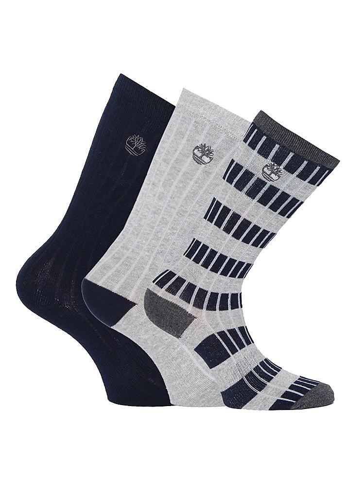 Timberland Men's Three Pack Stripe Rib Socks - Sapphire