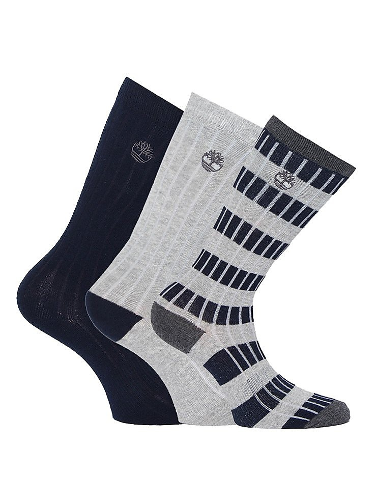 Timberland Men's Three Pack Stripe Rib Socks - Sapphire