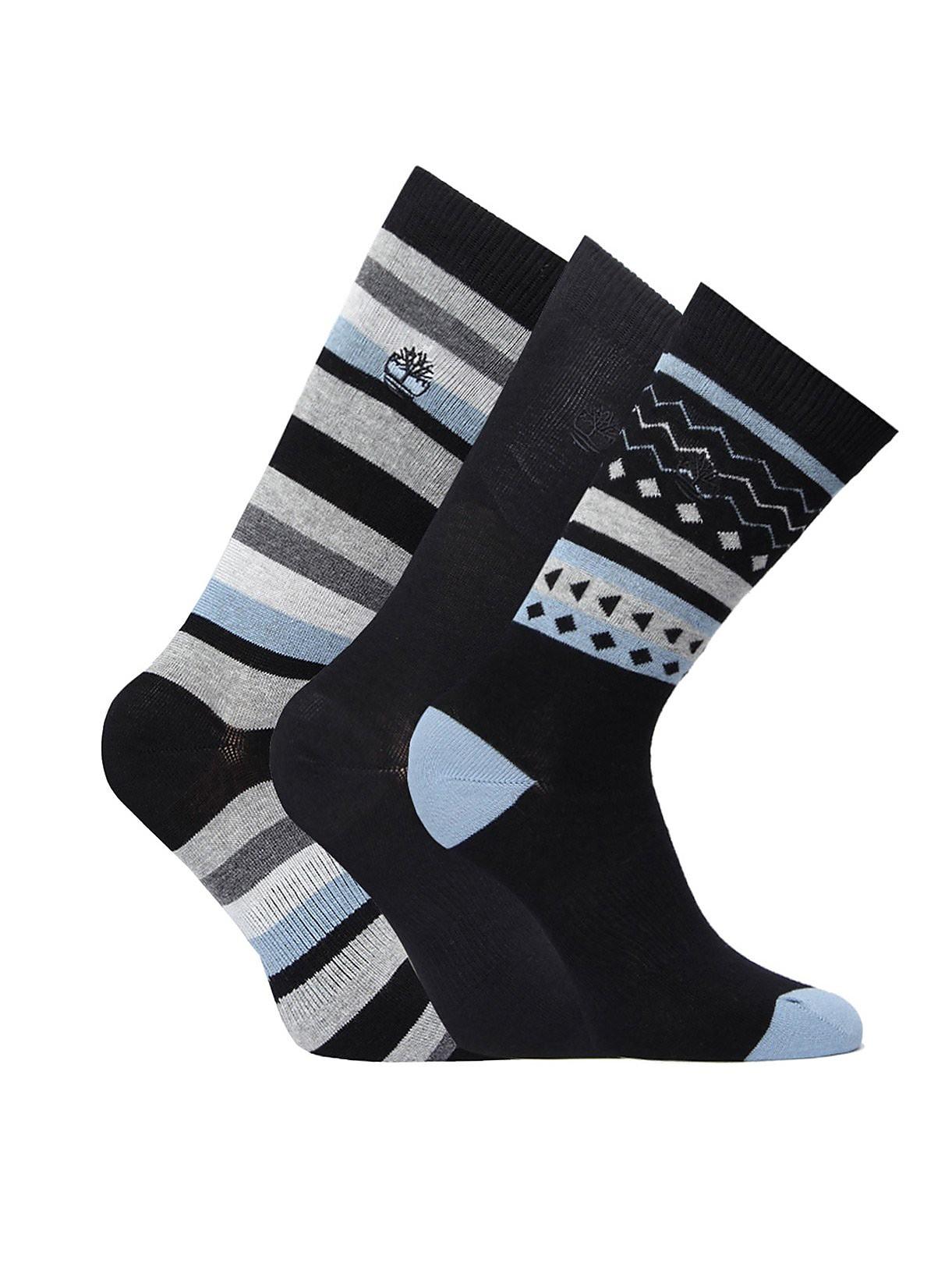 Timberland Men's Three Pack Stripe Rib Socks - Black
