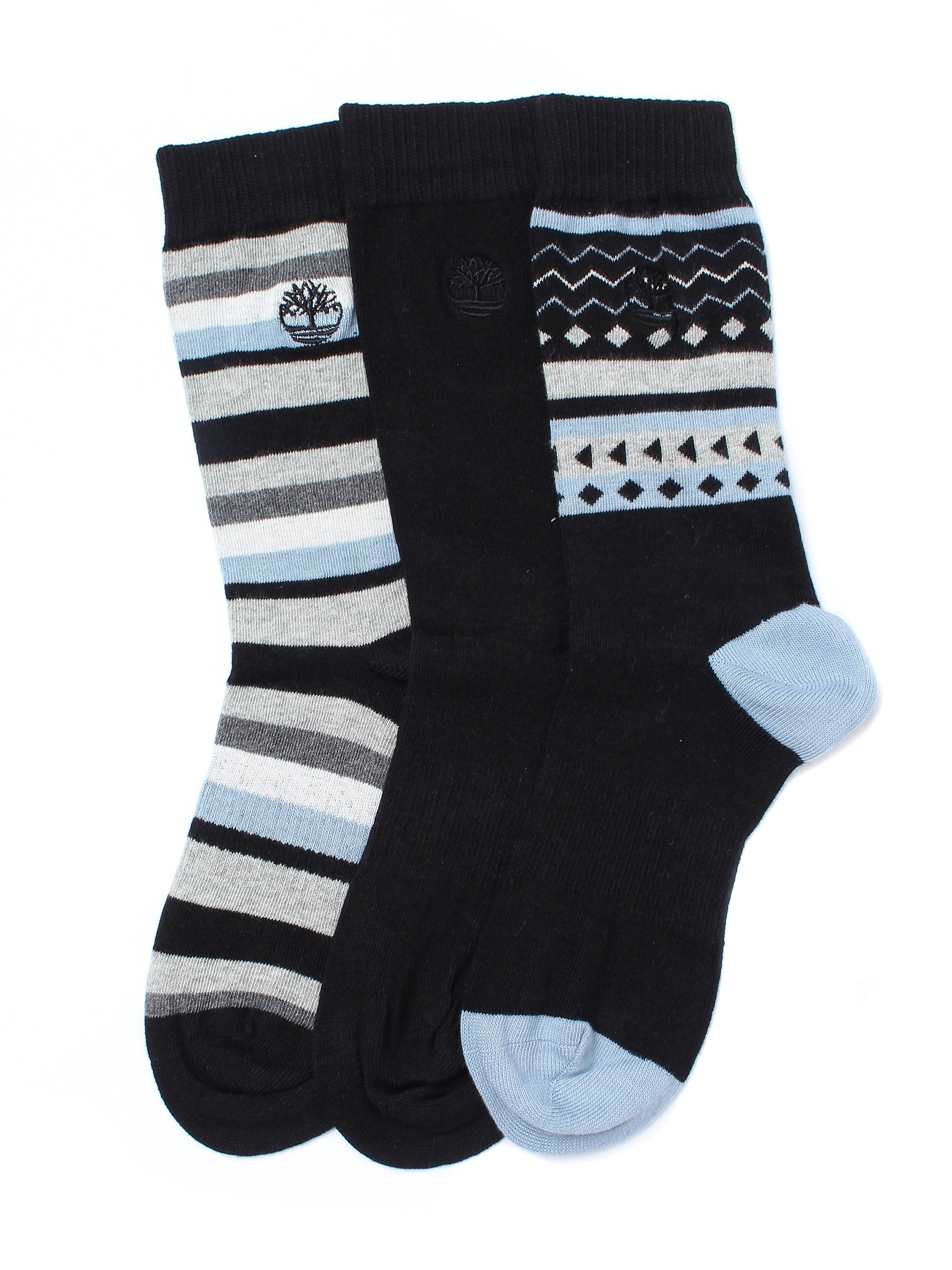 Timberland Men's Three Pack Stripe Rib Socks - Black