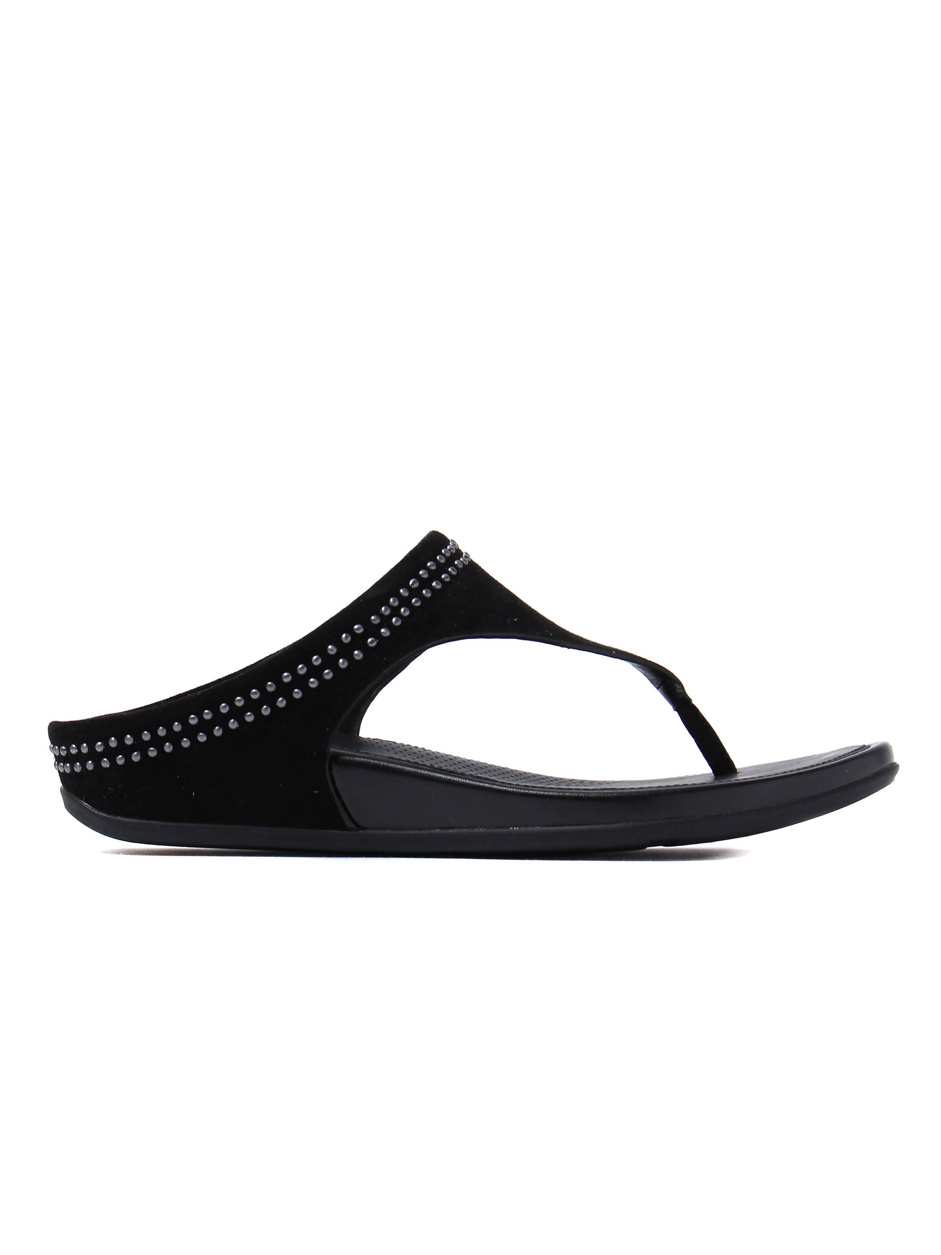 FitFlop Women's Banda Suede Toe-Post Sandals - Black
