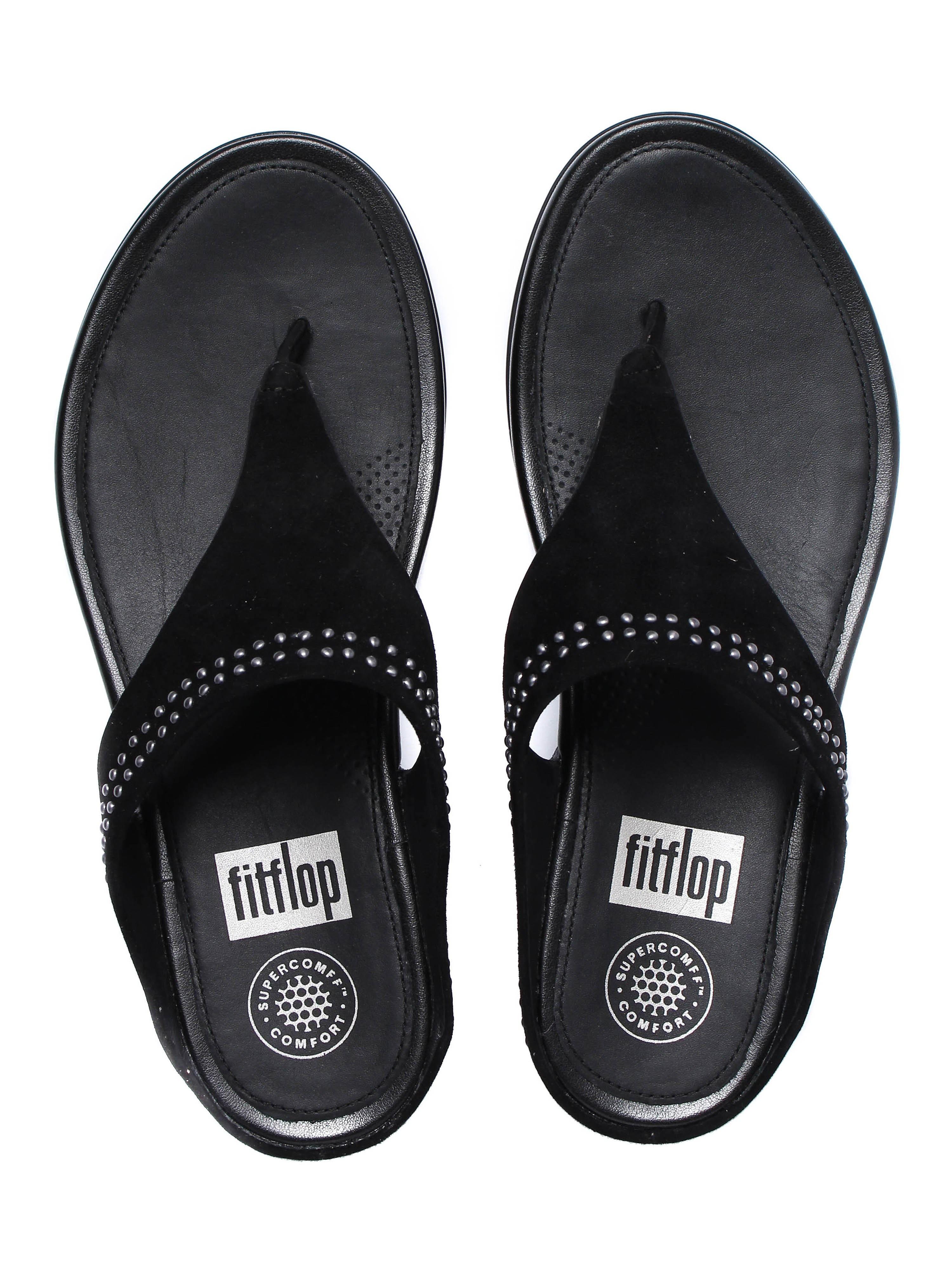 FitFlop Women's Banda Suede Toe-Post Sandals - Black