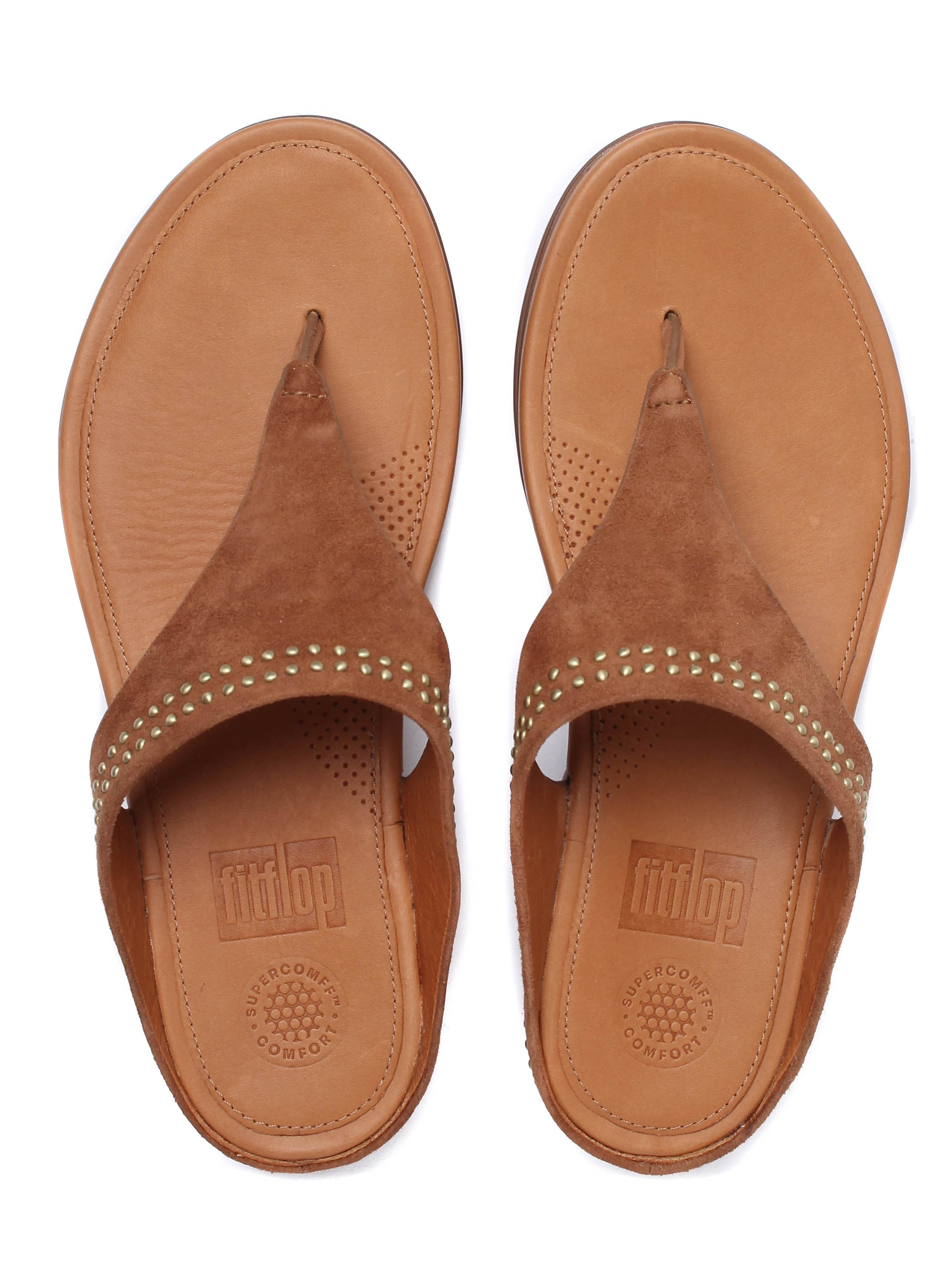 FitFlop Women's Banda Suede Toe-Post Sandals - Tan