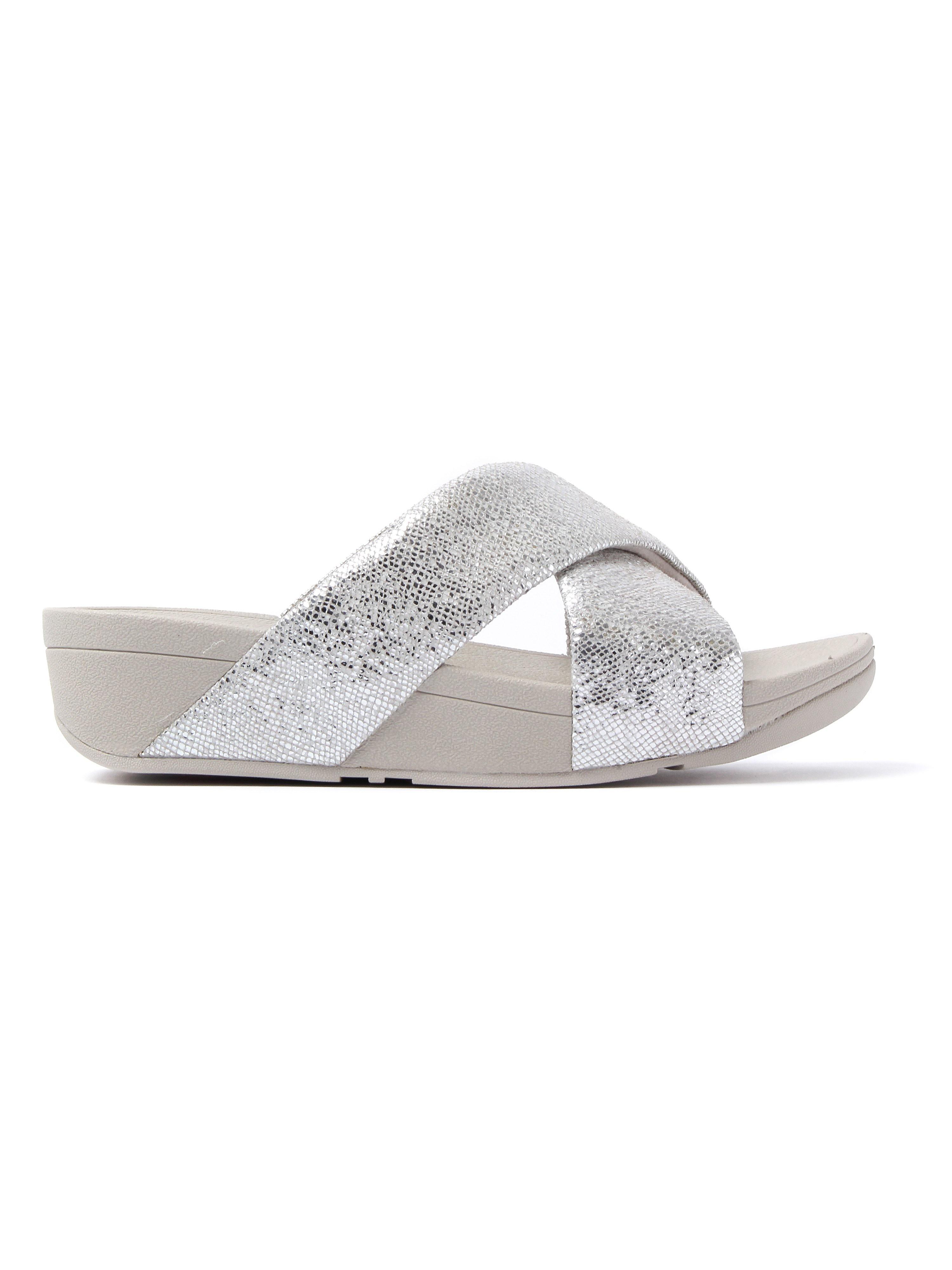FitFlop Women's Swoop Slide Sandals - Silver