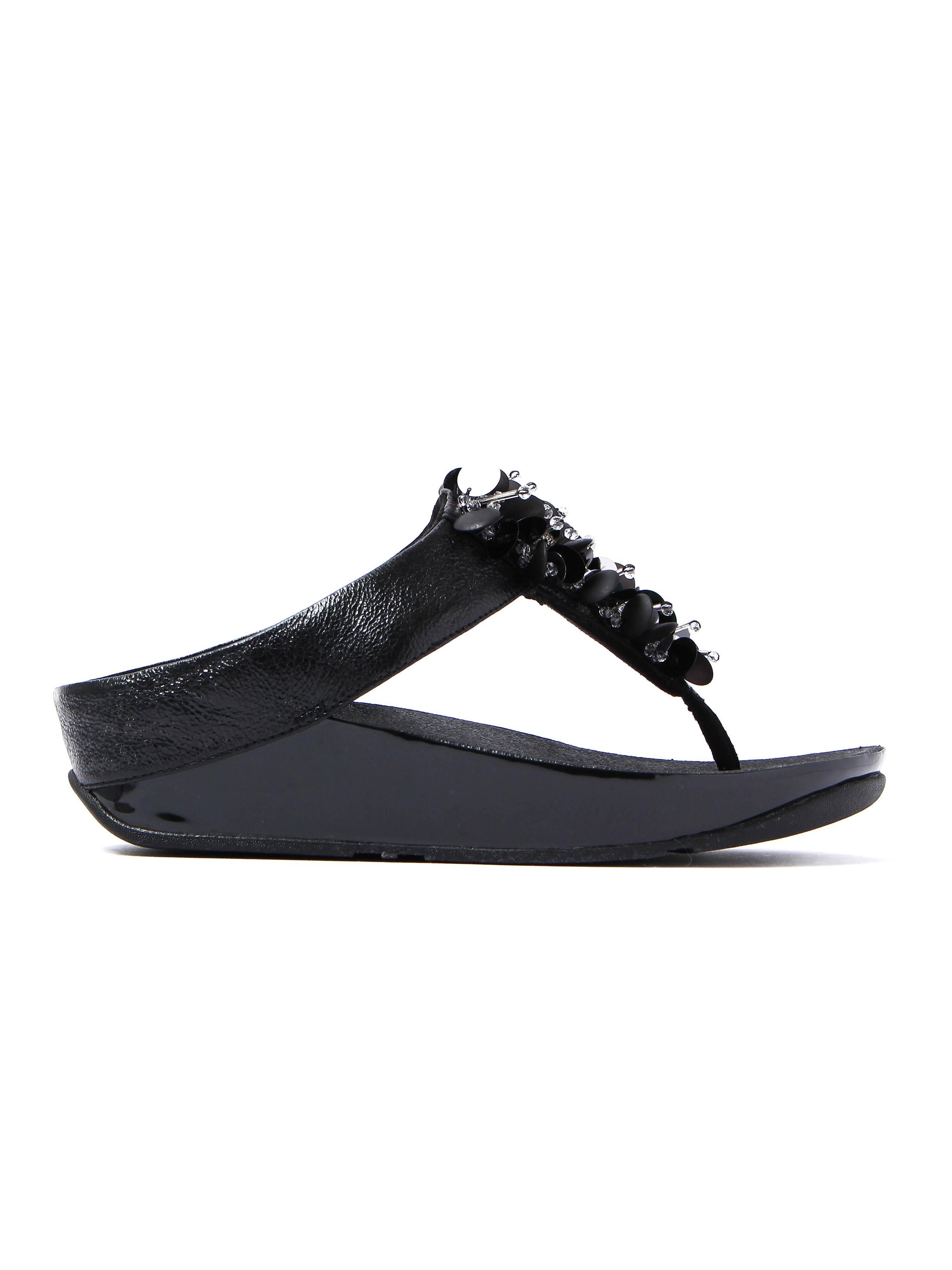 FitFlop Women's Boogaloo Toe-Post Sandals - Black