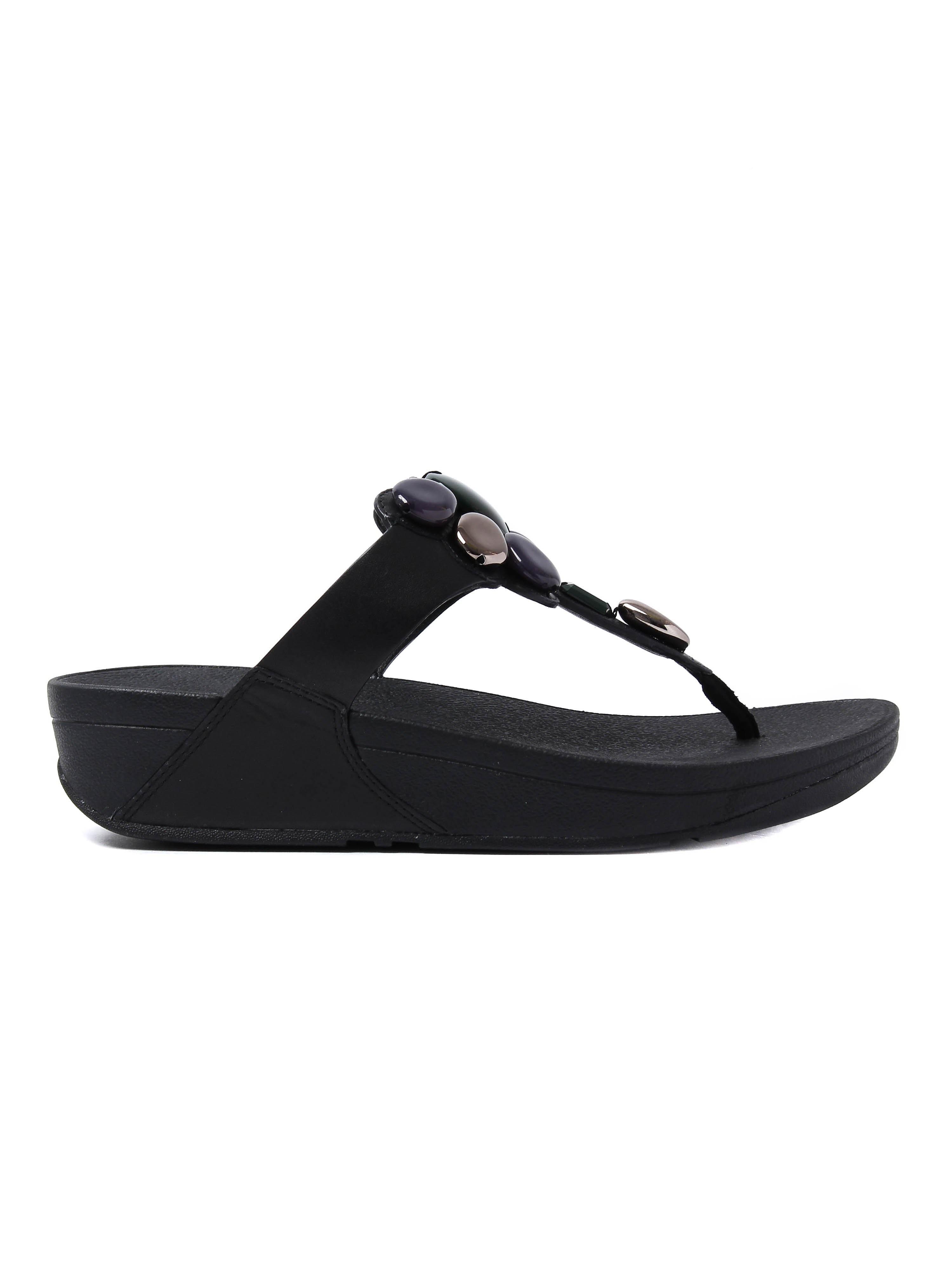 FitFlop Women's Honeybee Jewelled Sandals - Black Leather