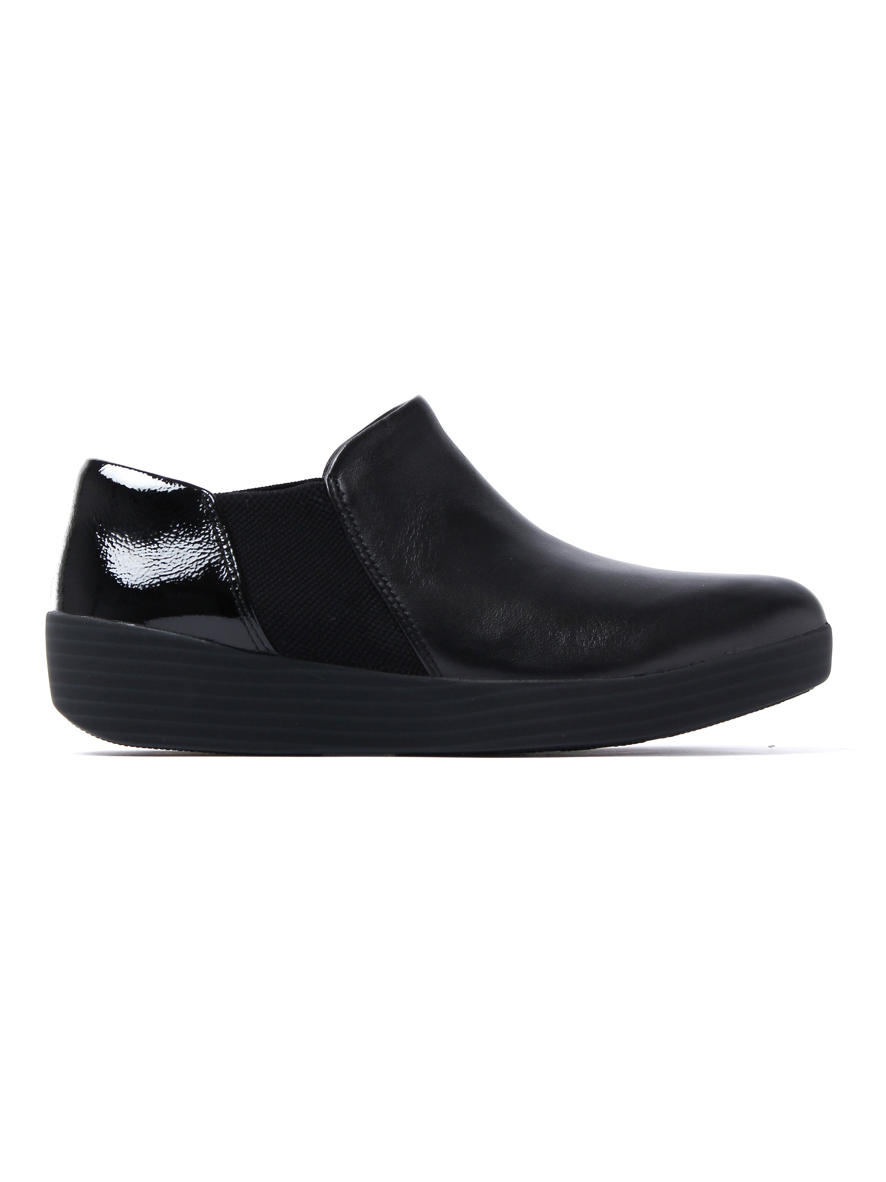 FitFlop Women's Superchelsea Slip On Shoes - Black Leather Patent