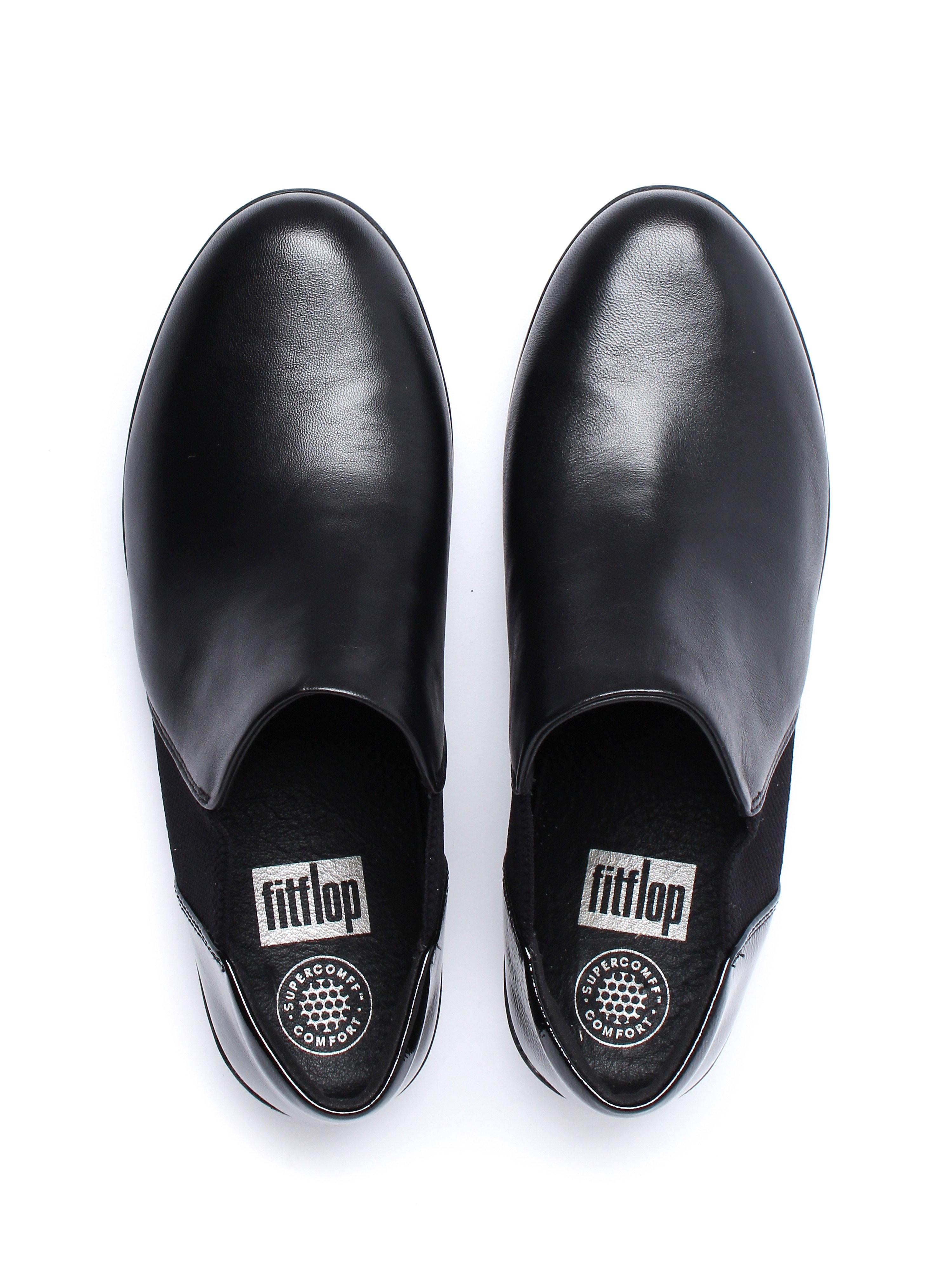 FitFlop Women's Superchelsea Slip On Shoes - Black Leather Patent