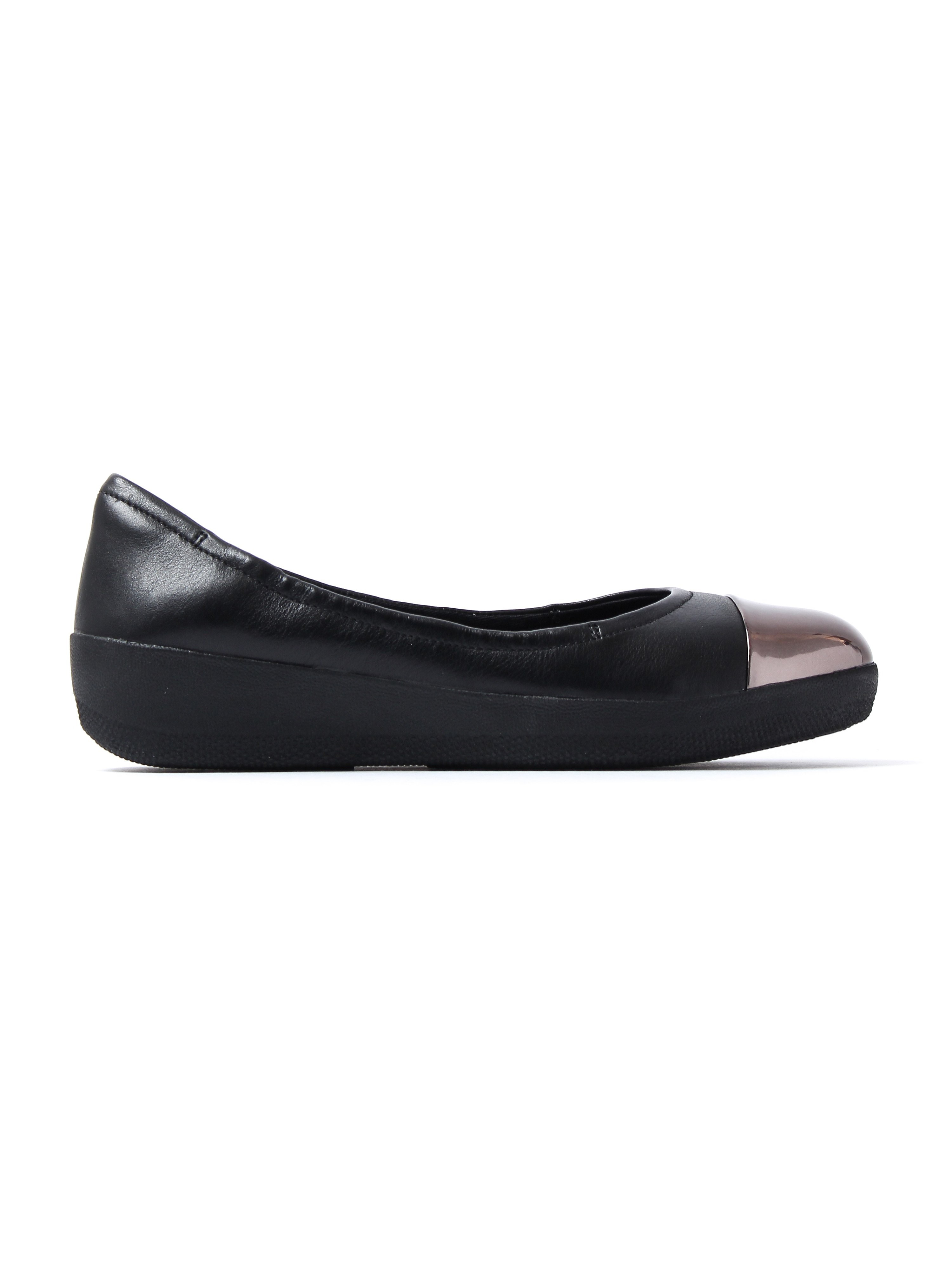 FitFlop Women's Superbendy Mirror-Toe Ballerinas - Black Leather