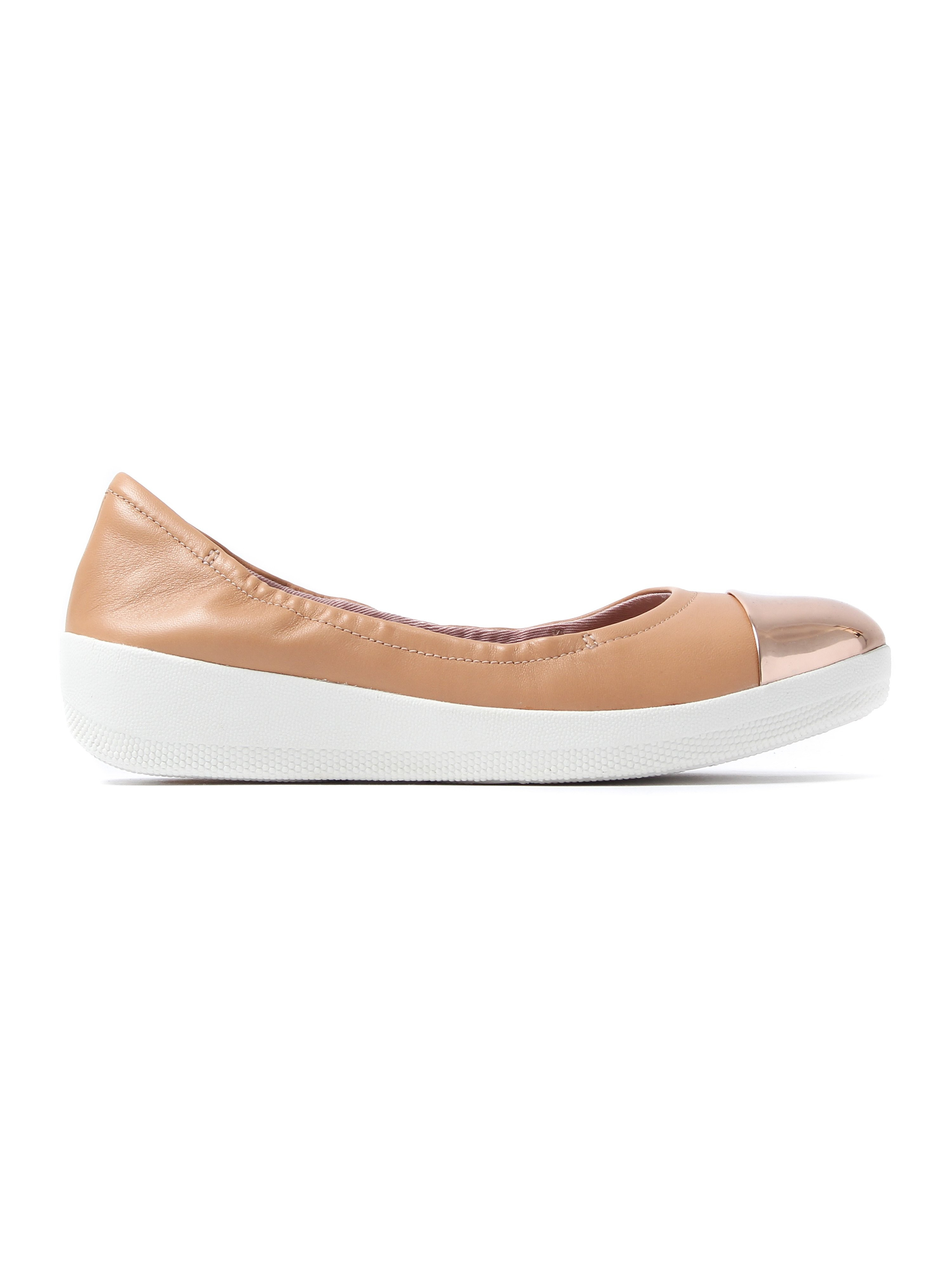 FitFlop Women's Superbendy Mirror-Toe Ballerinas - Nude Leather