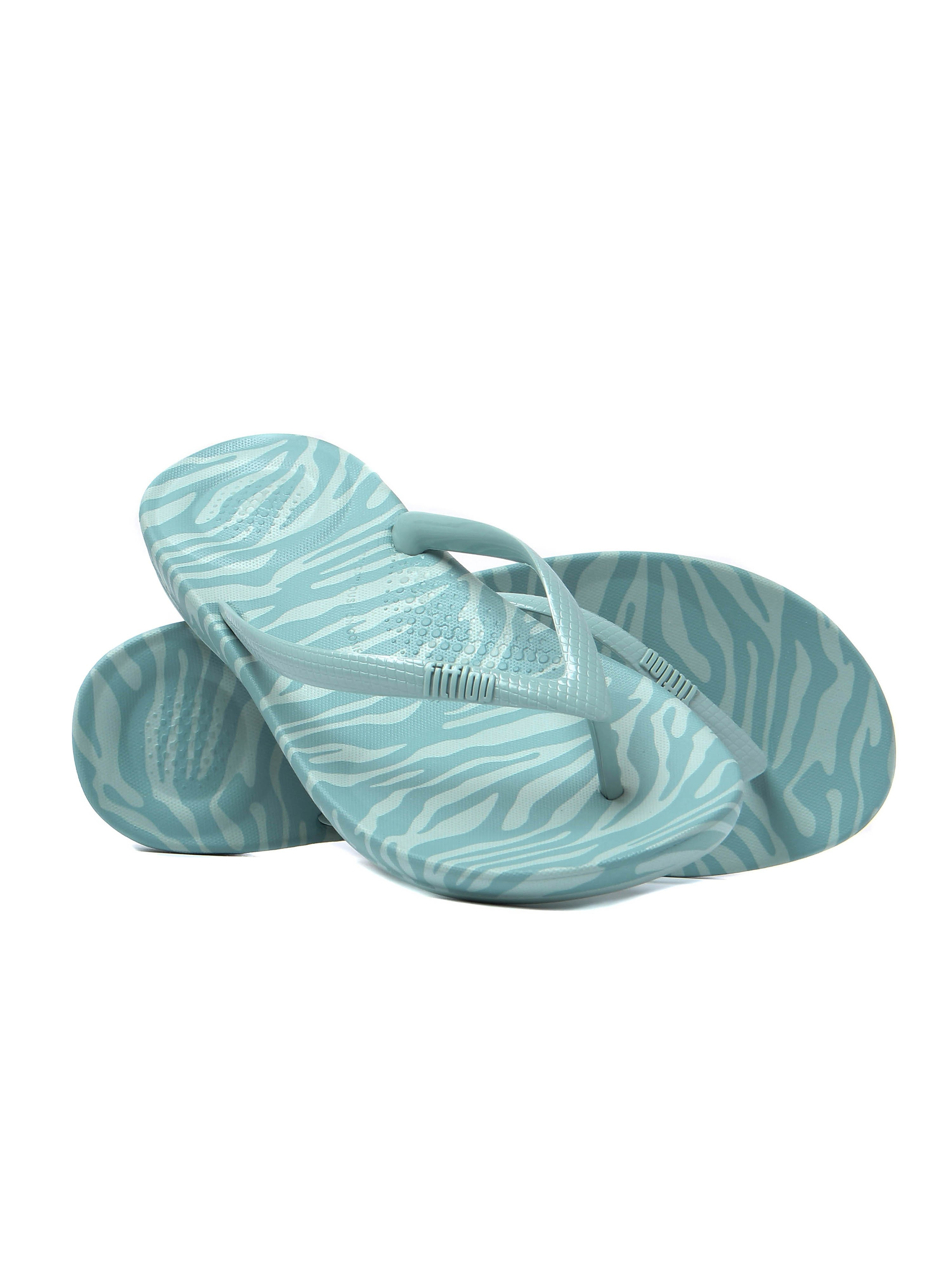 FitFlop Women's IQushion Ergonomic Flip Flops - Aqua Tiger Print