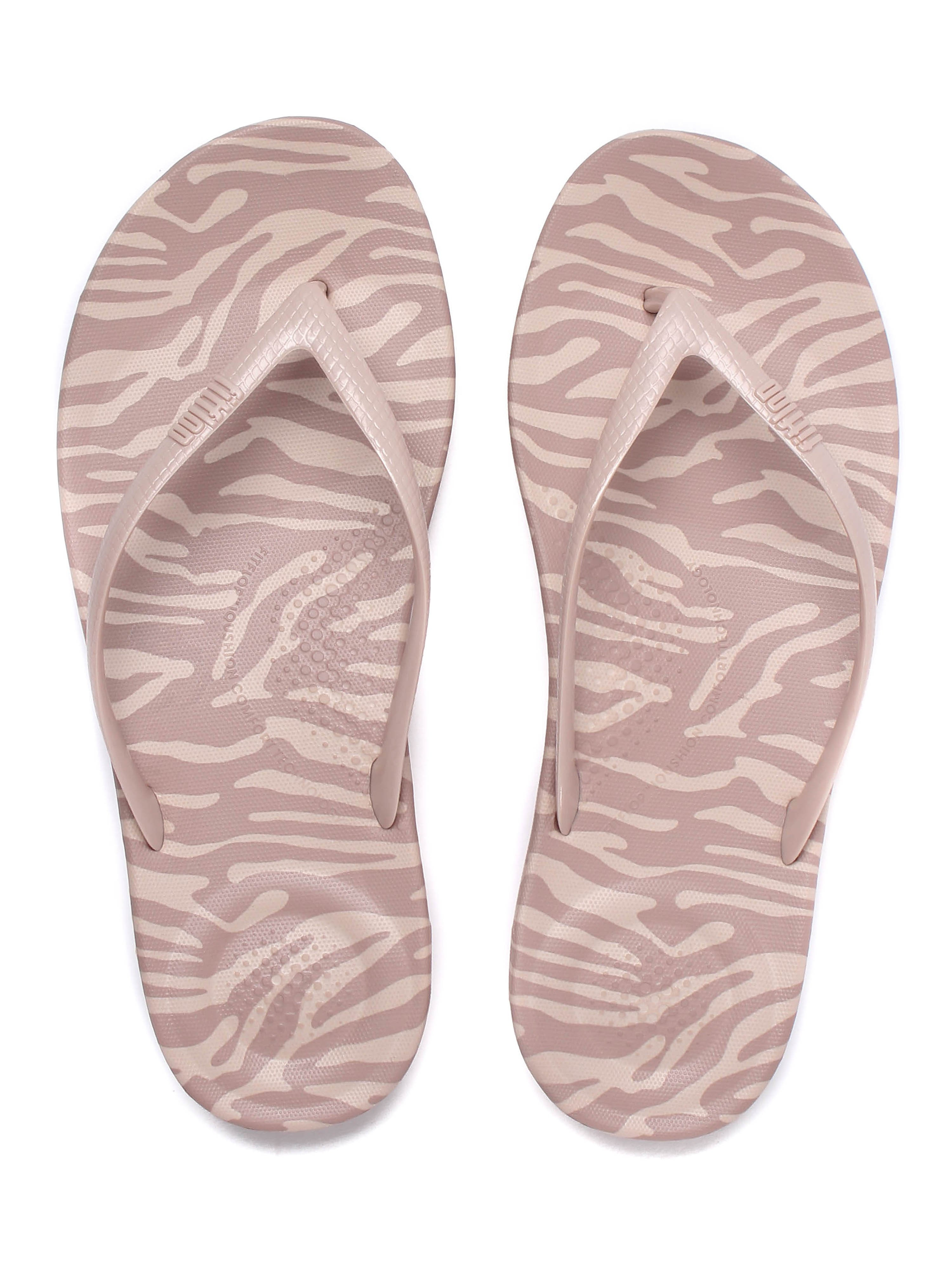 FitFlop Women's IQushion Ergonomic Flip Flops - Nude Tiger Print