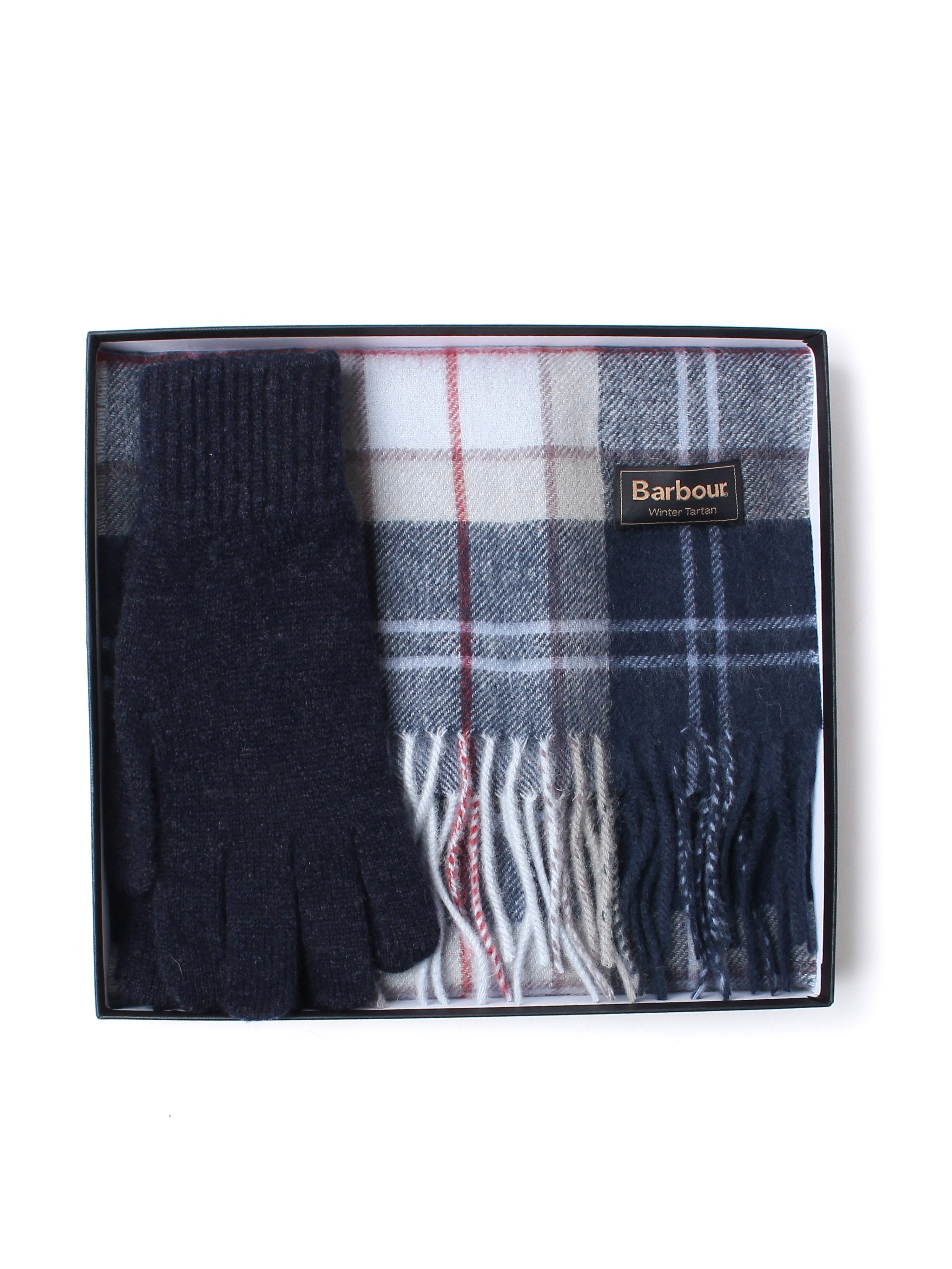 Barbour Scarf and Gloves Gift Box - Navy Classic Tartan