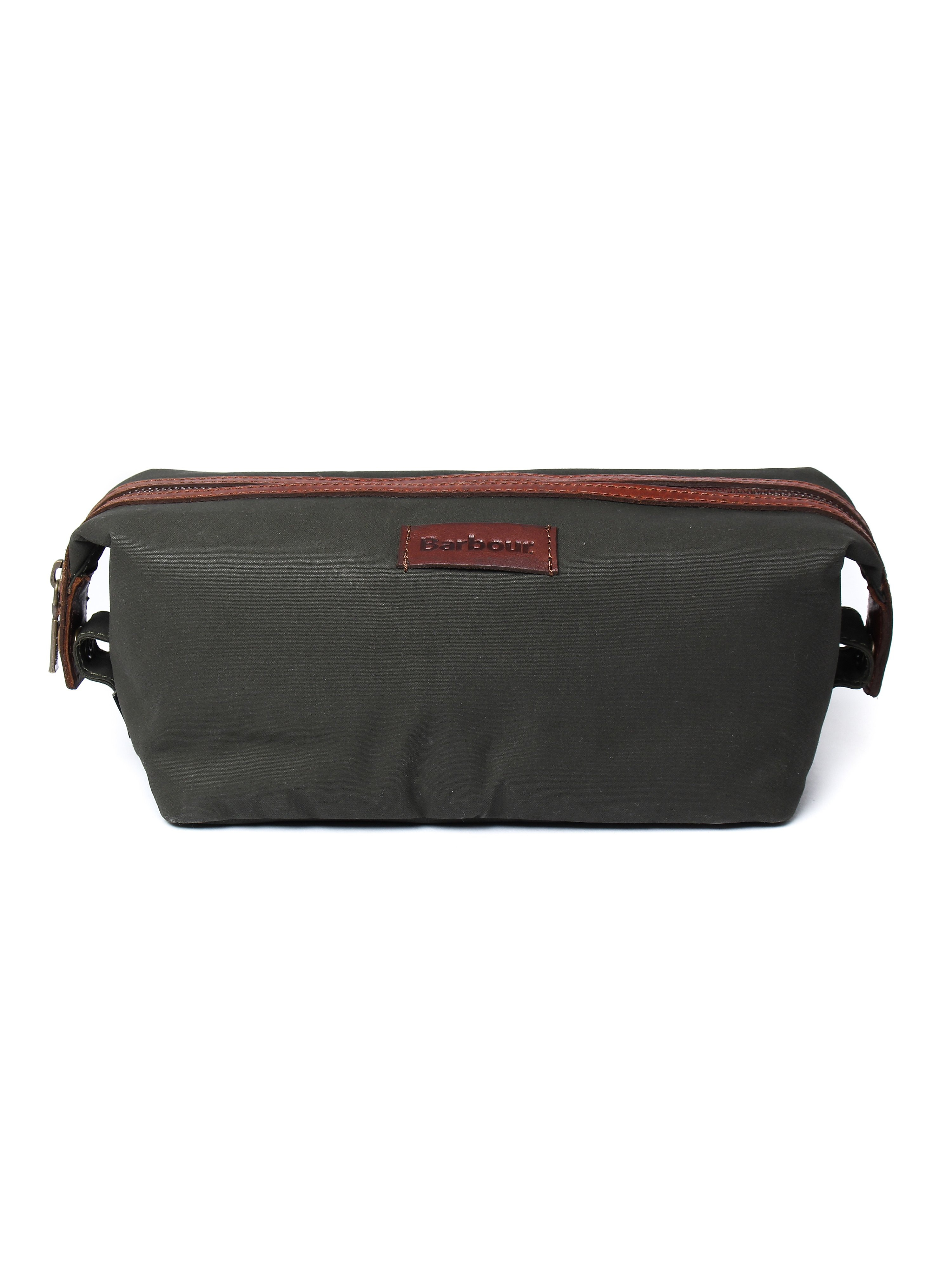 Barbour Dry Wax Convertible Wash Bag - Olive