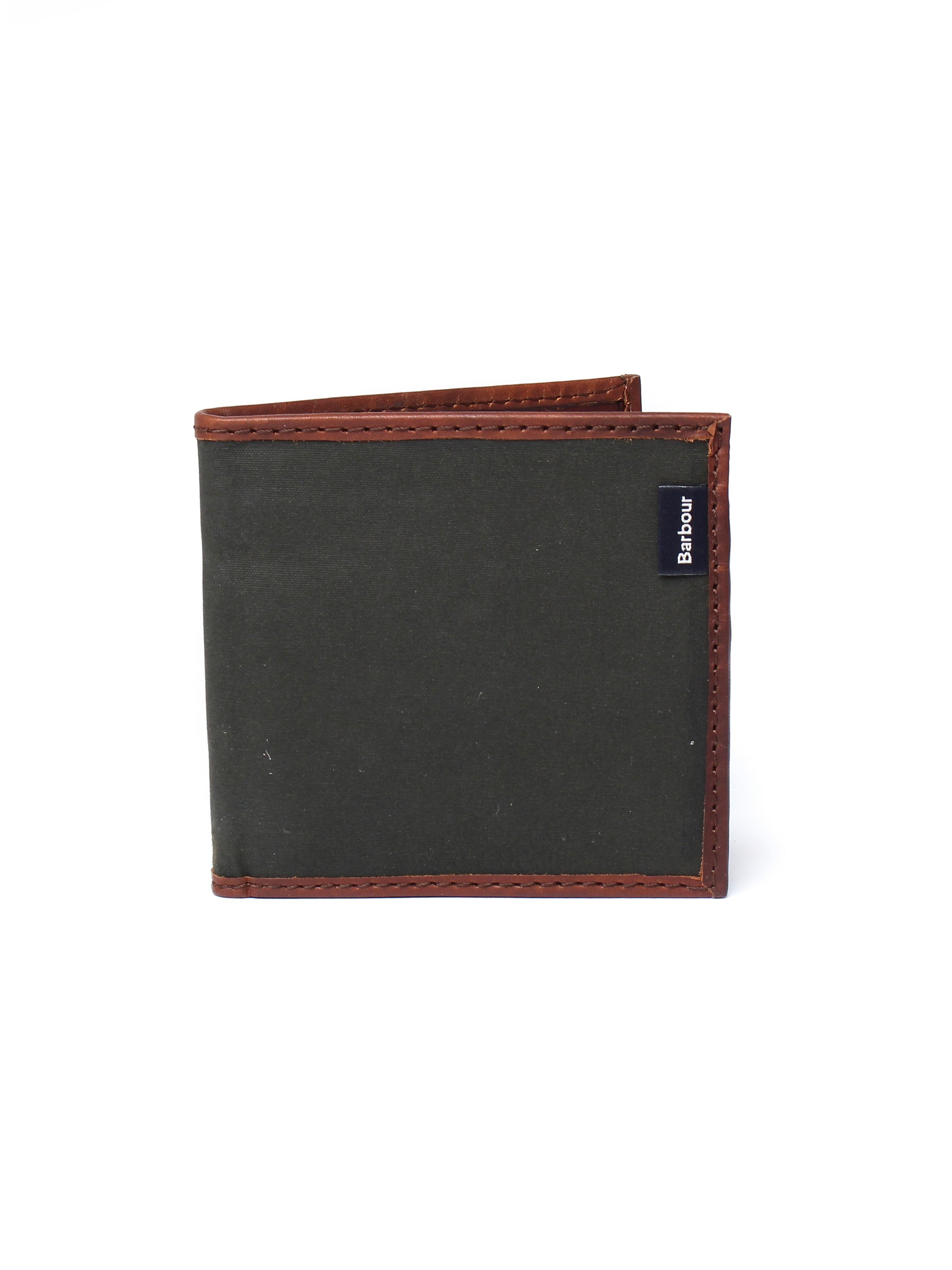 Barbour Men's Dry Wax Billfold Wallet - Olive