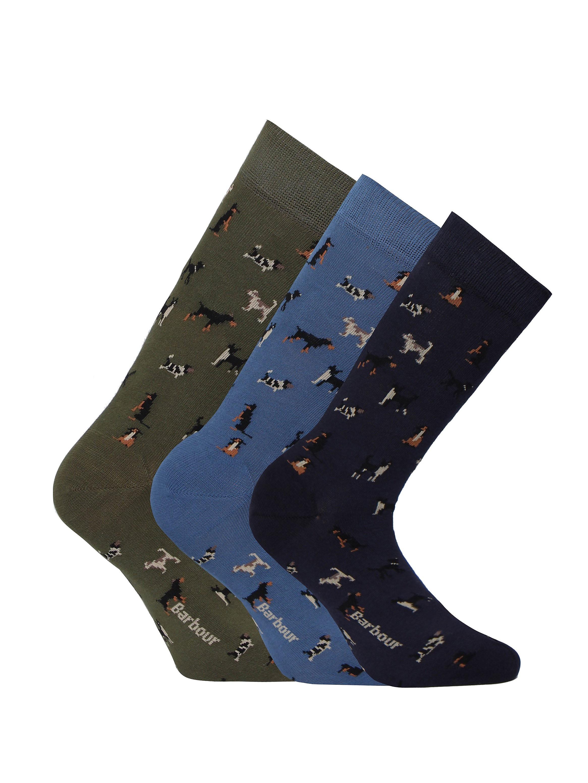 Barbour 3 Pack Dog Motif Socks Giftbox