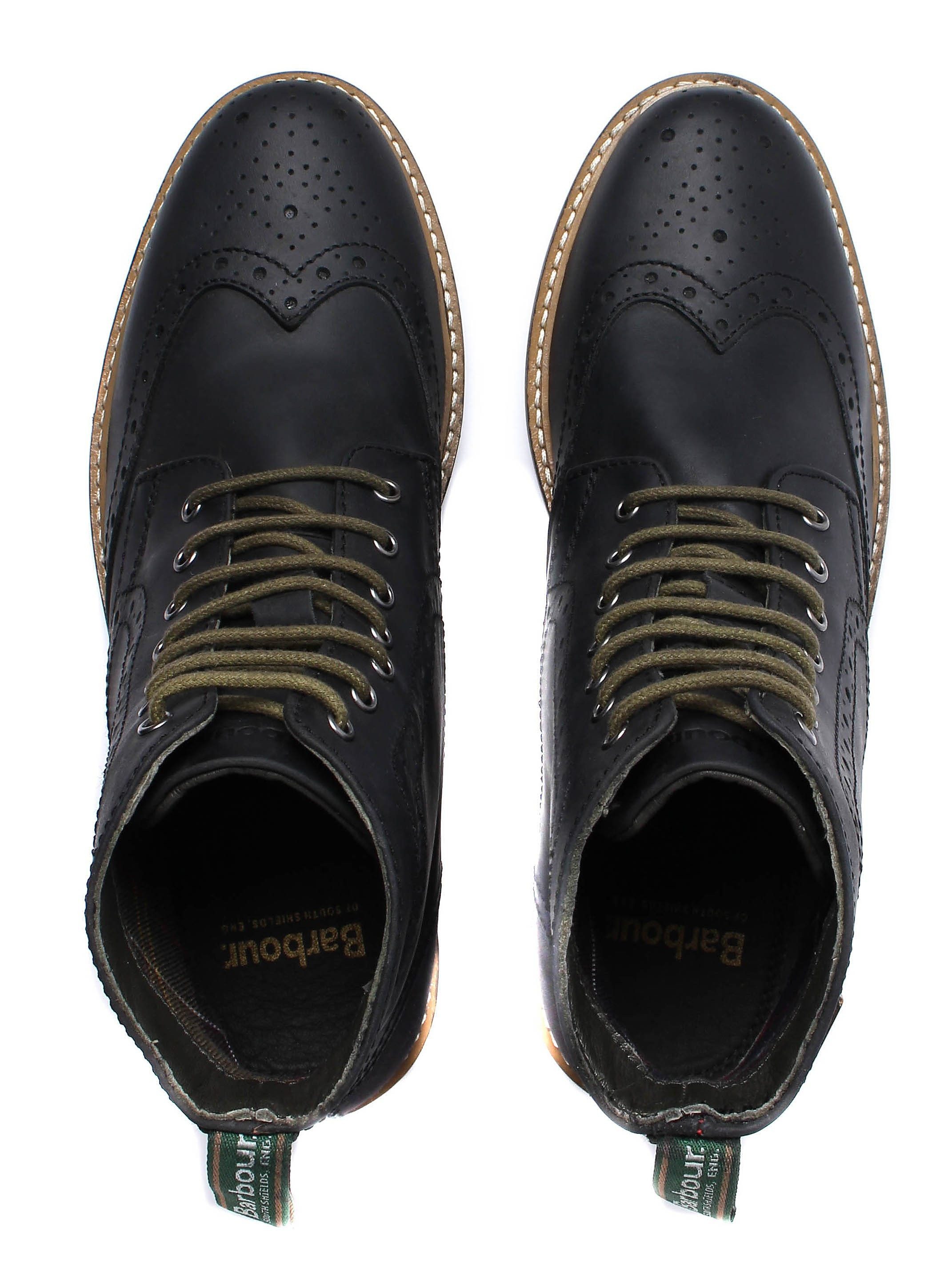 Barbour Men's Belsay Brogue Derby Boots - Black Wax Leather