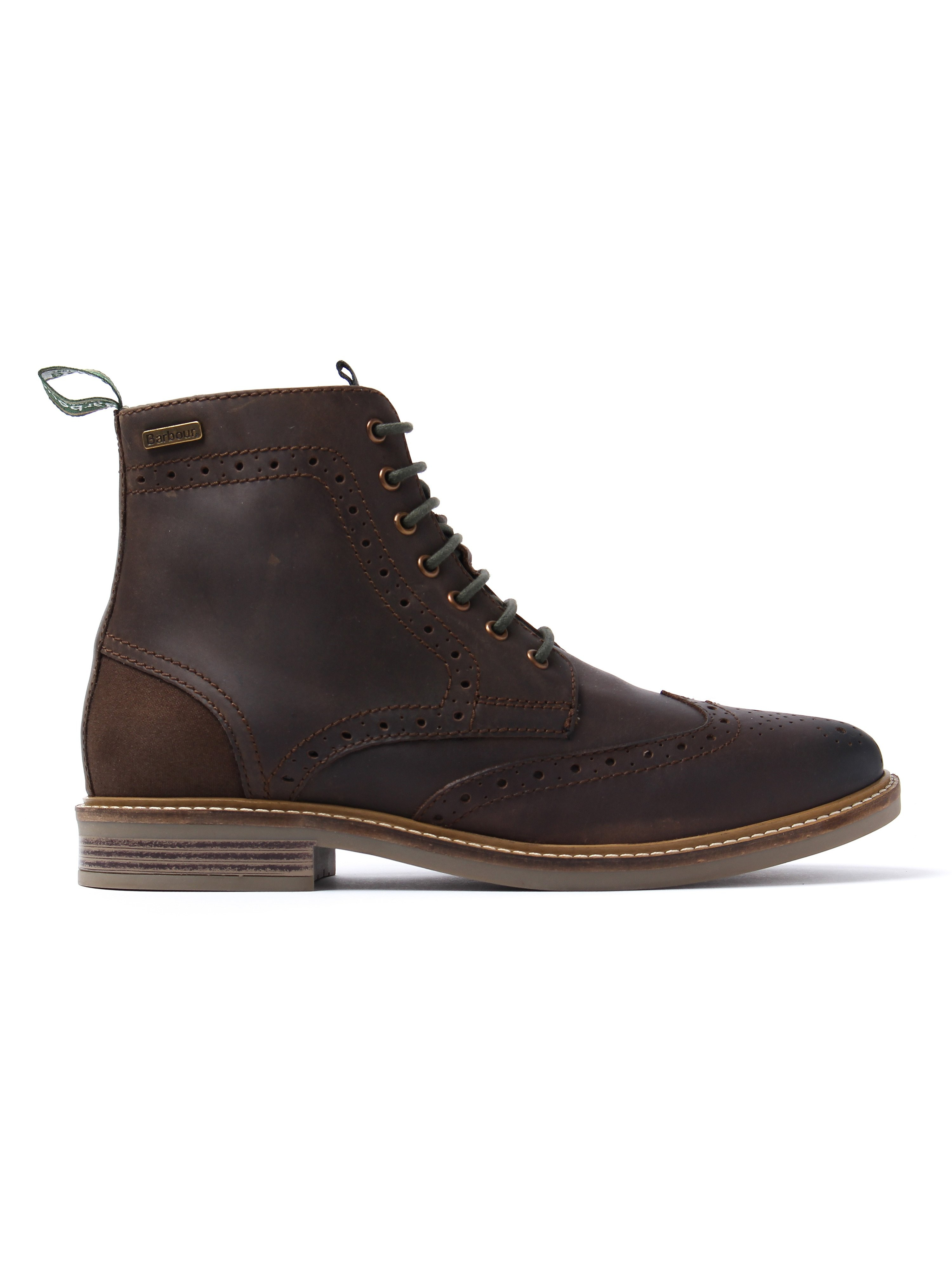 Barbour Men's Belsay Brogue Derby Boots - Choco Wax Leather