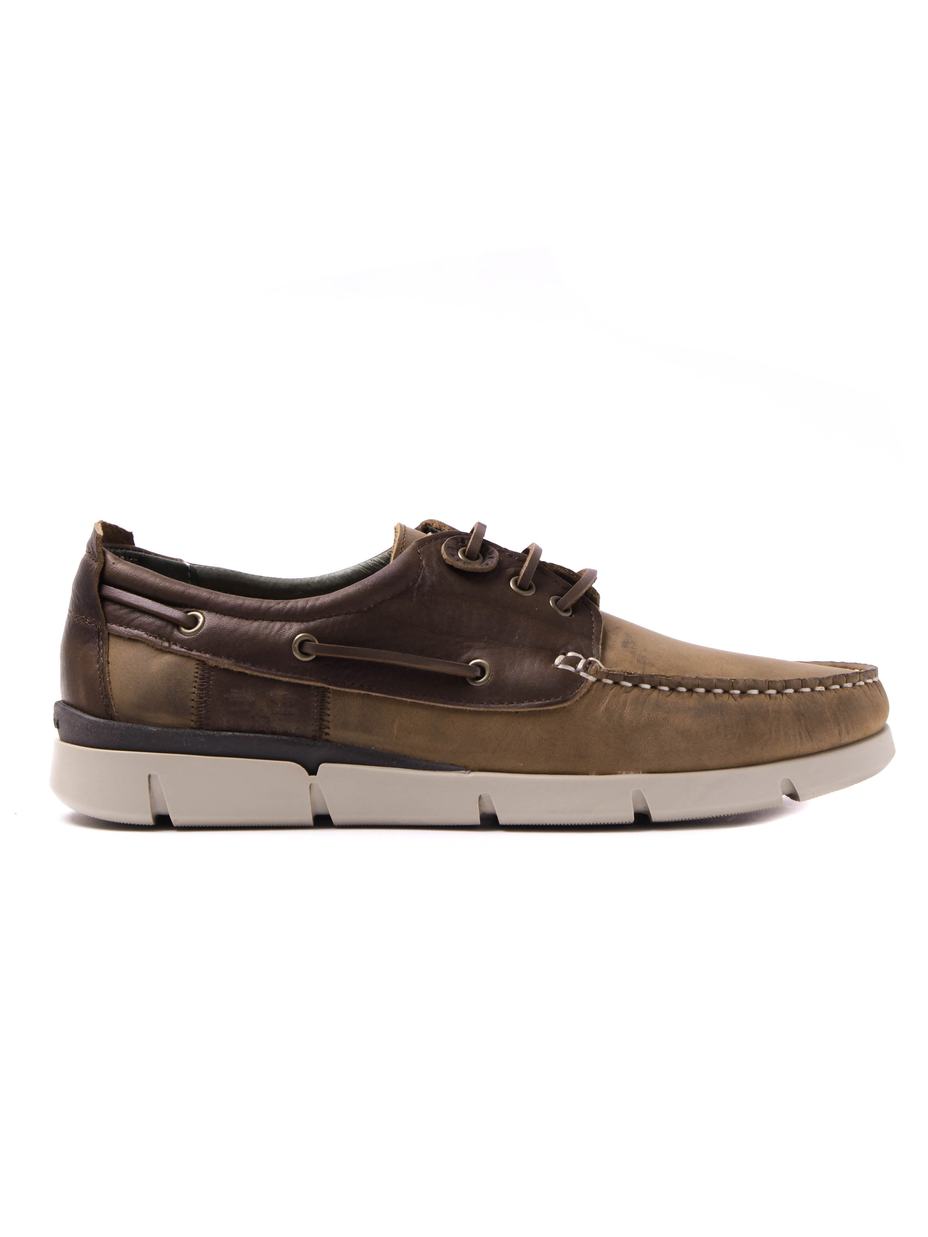 Barbour Men's George Aged Leather Boat Shoes - Beige & Brown