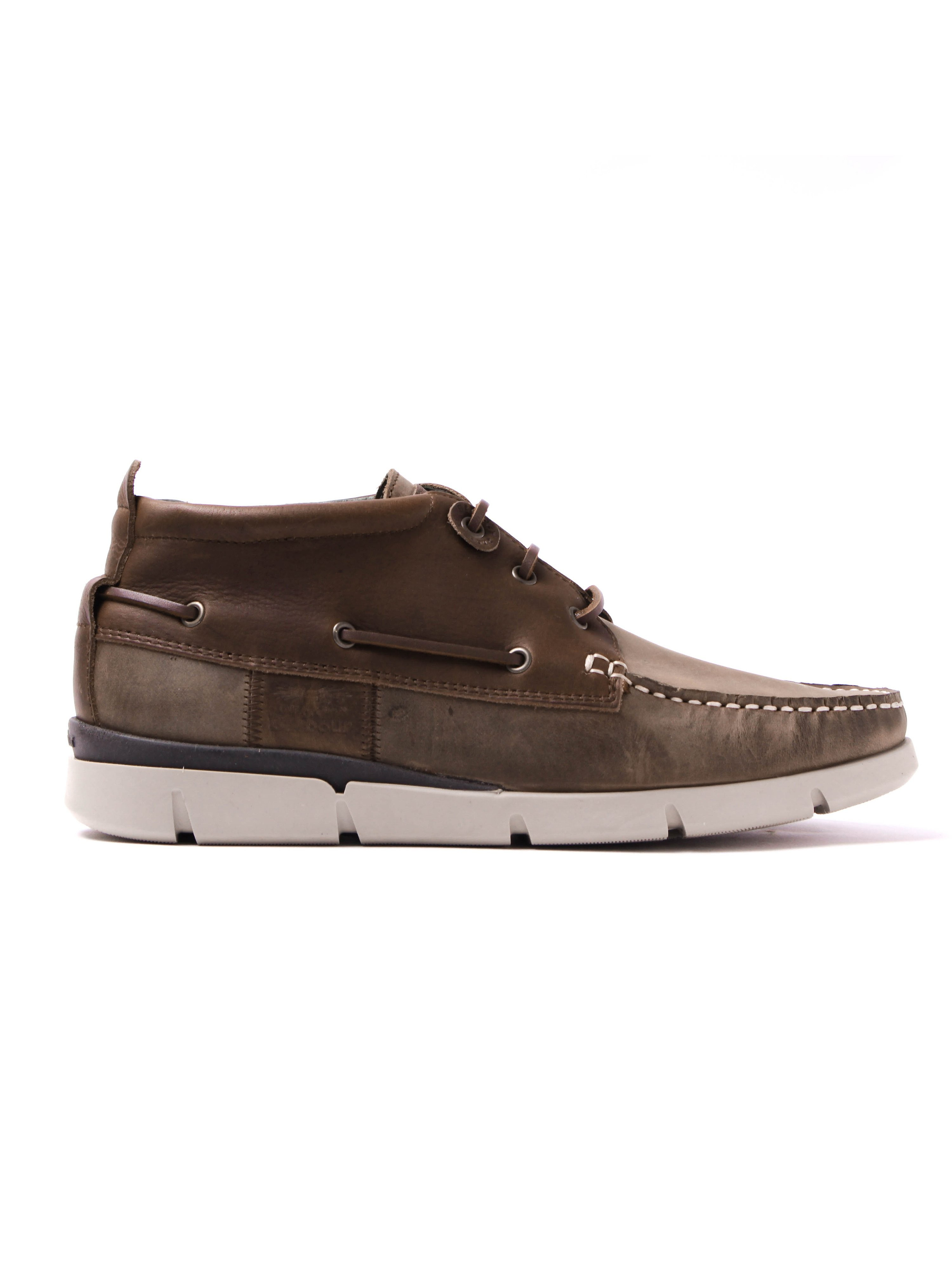 Barbour Men's Phill Aged Leather Boat Shoes - Beige & Brown