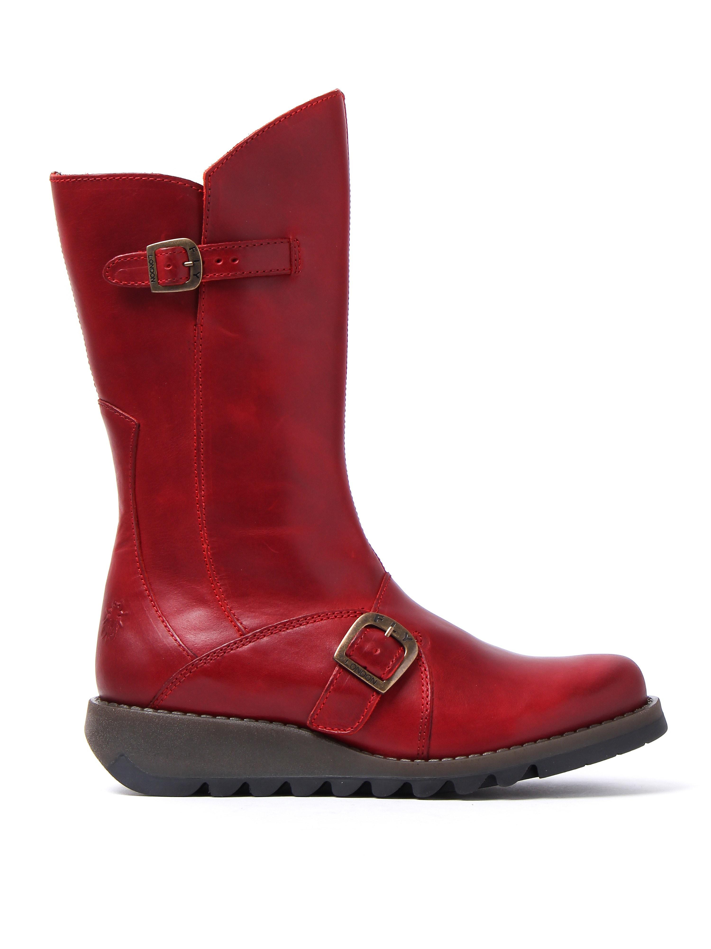 Fly London Women's Mes 2 Biker Boots - Red