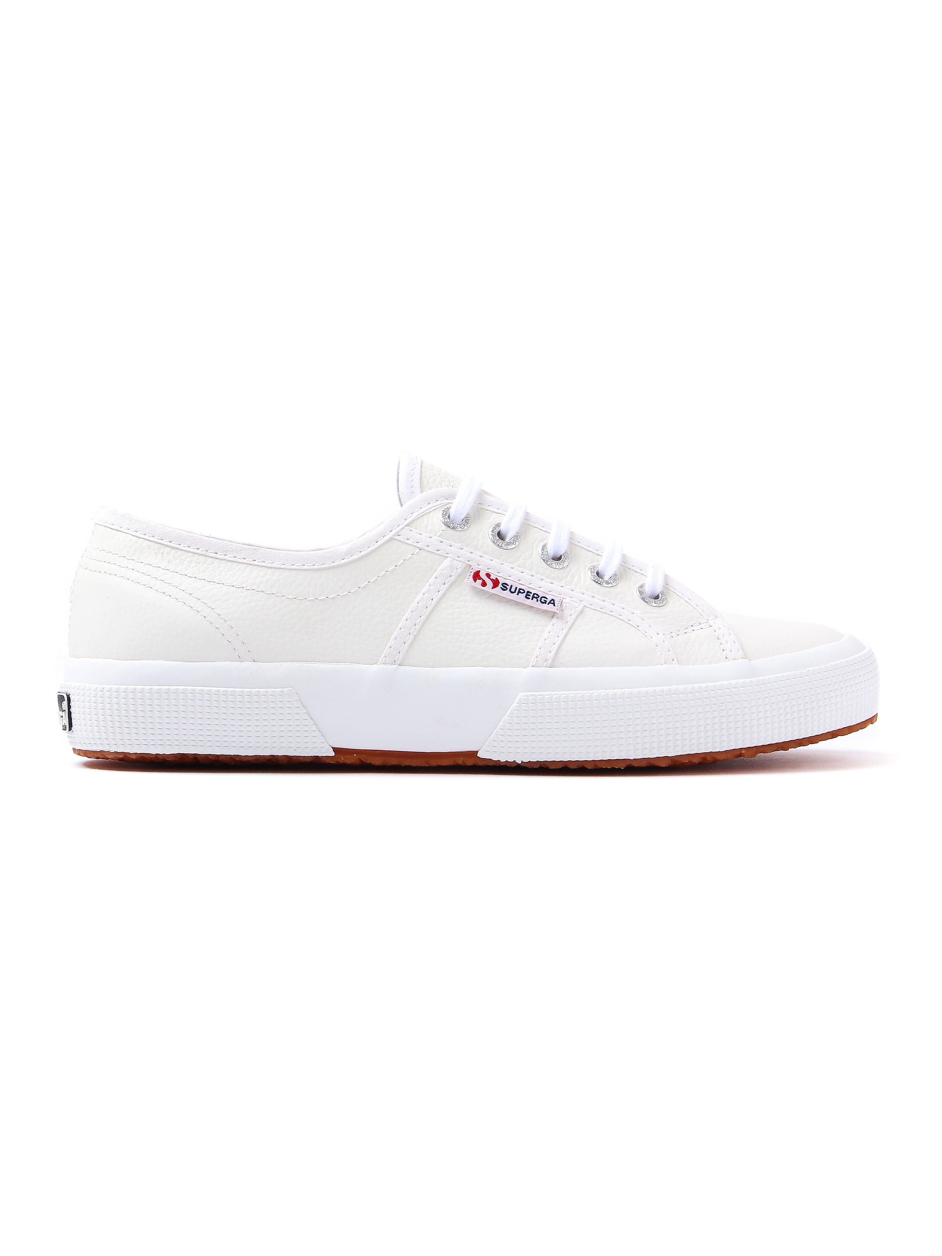 Superga Women's 2750 EFGLU Grained Leather Trainers - White