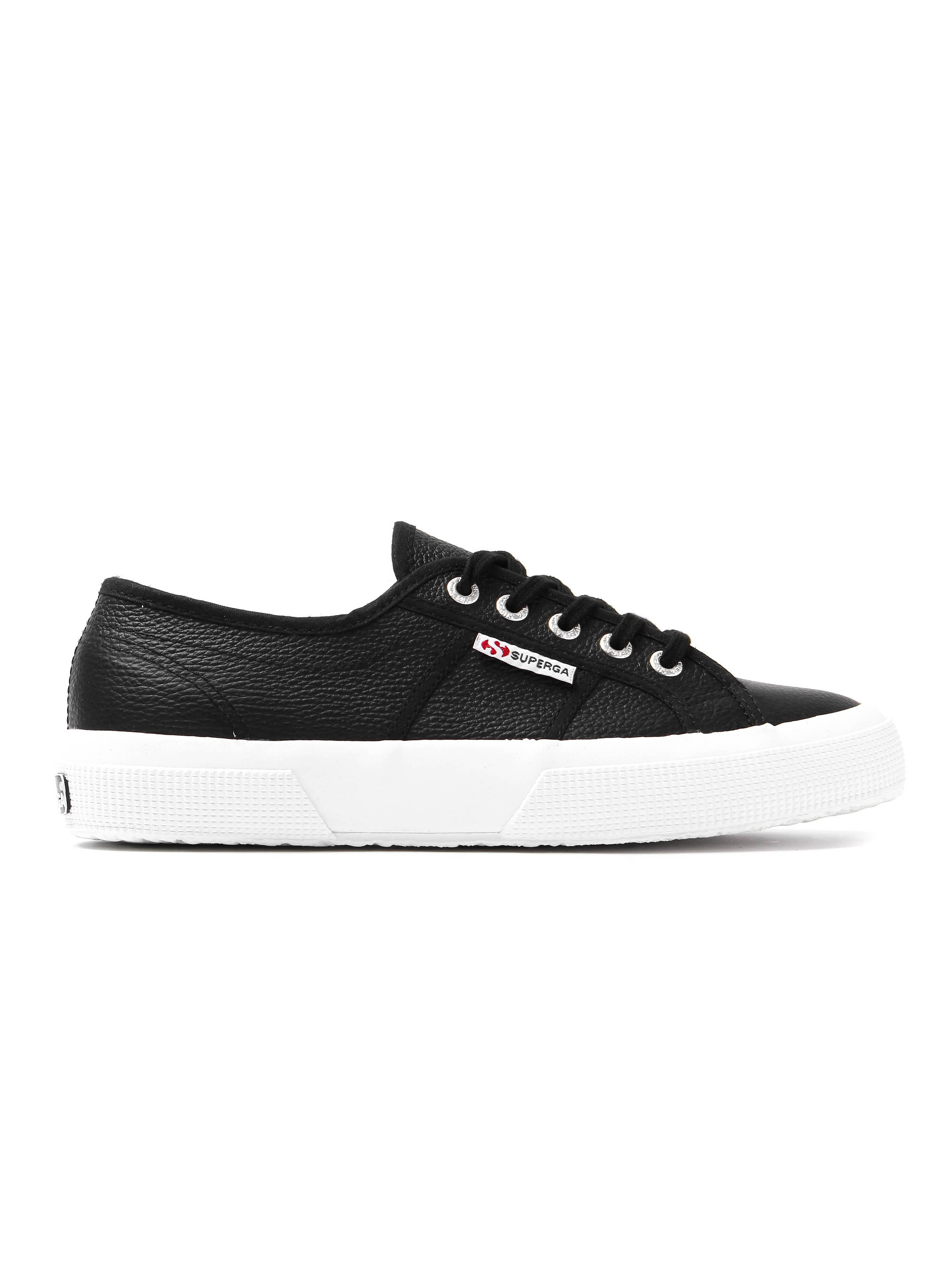 Superga Women's 2750 EFGLU Trainers - Black Grained Leather