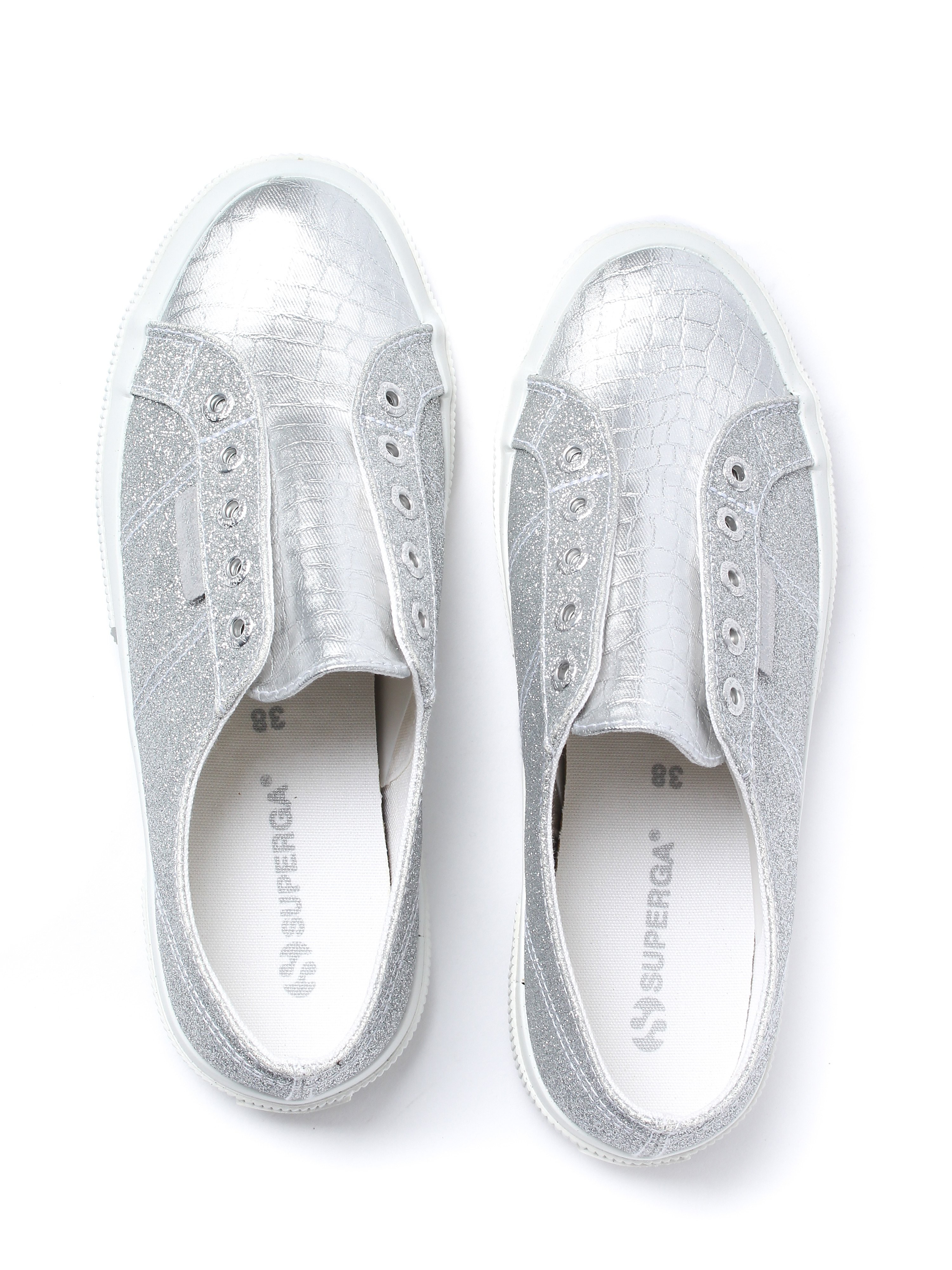 Superga Women's 2750 Microglitter Trainers - Grey Silver