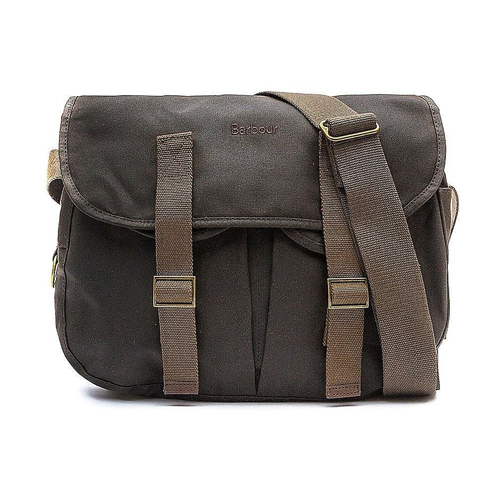 Barbour Thornproof Tarras Leather Satchel Bag - Olive
