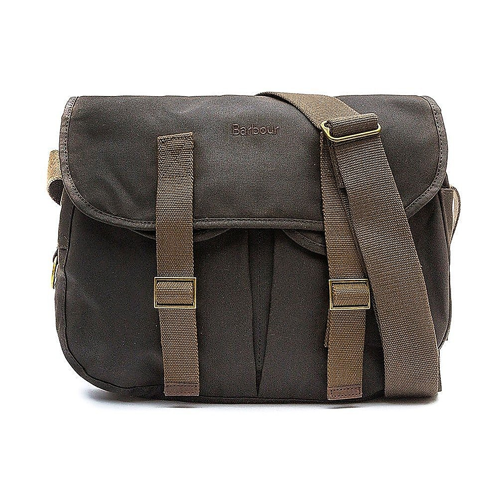 Barbour Thornproof Tarras Leather Satchel Bag - Olive