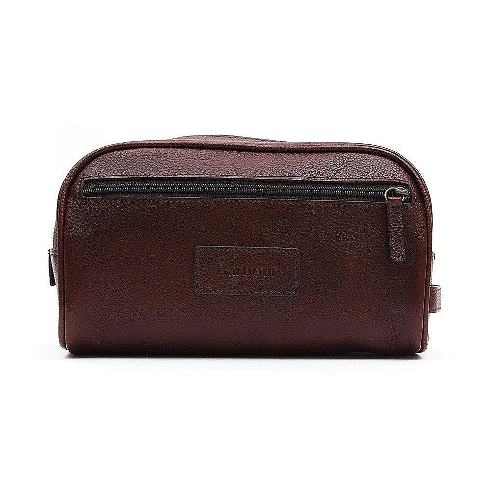 Barbour Leather Wash Bag - Dark Brown