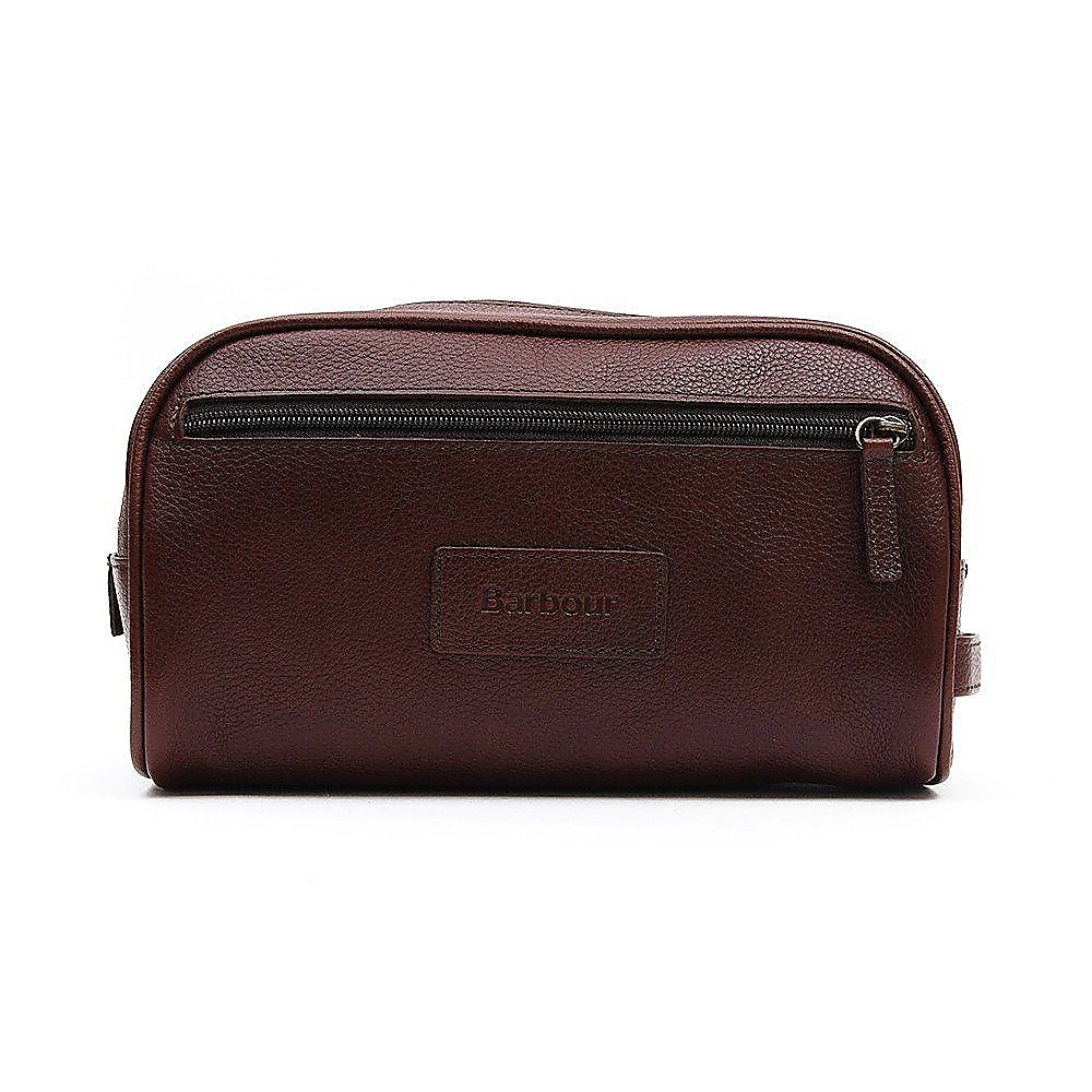 Barbour Leather Wash Bag - Dark Brown