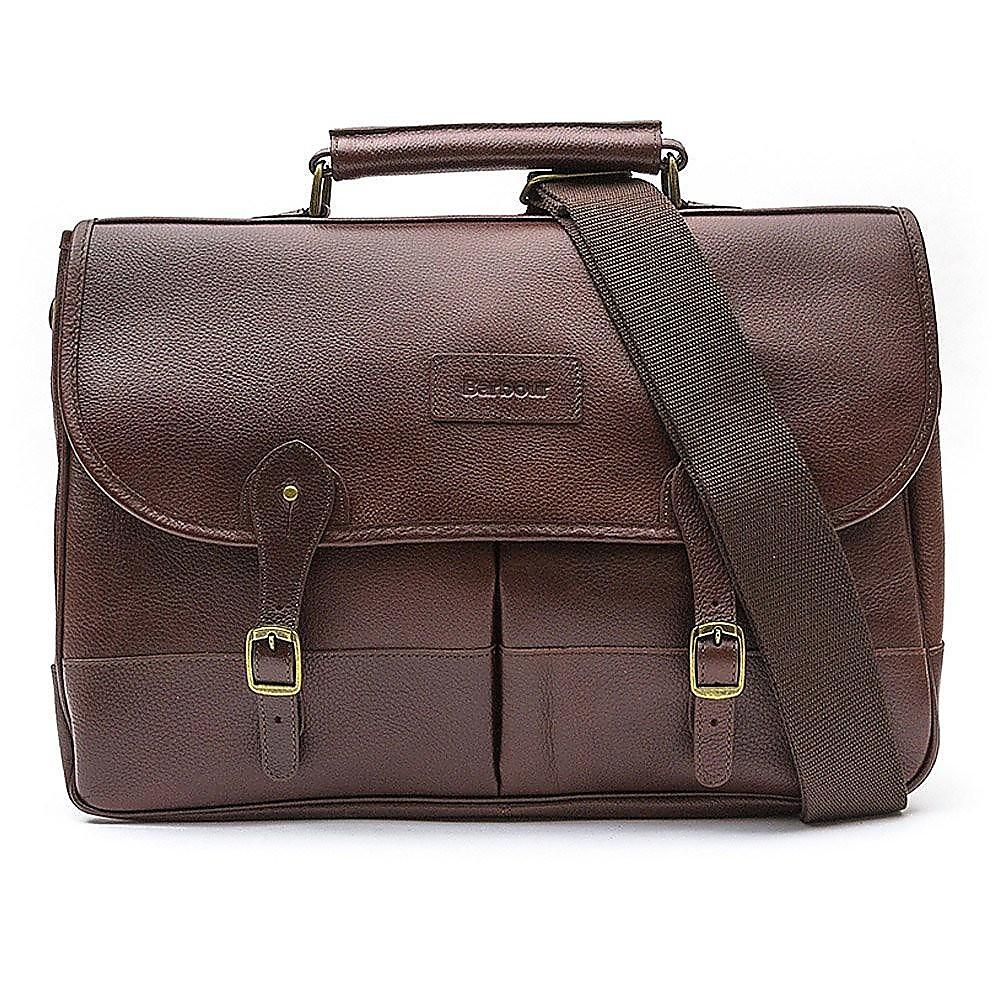 Barbour Leather Briefcase - Dark Brown