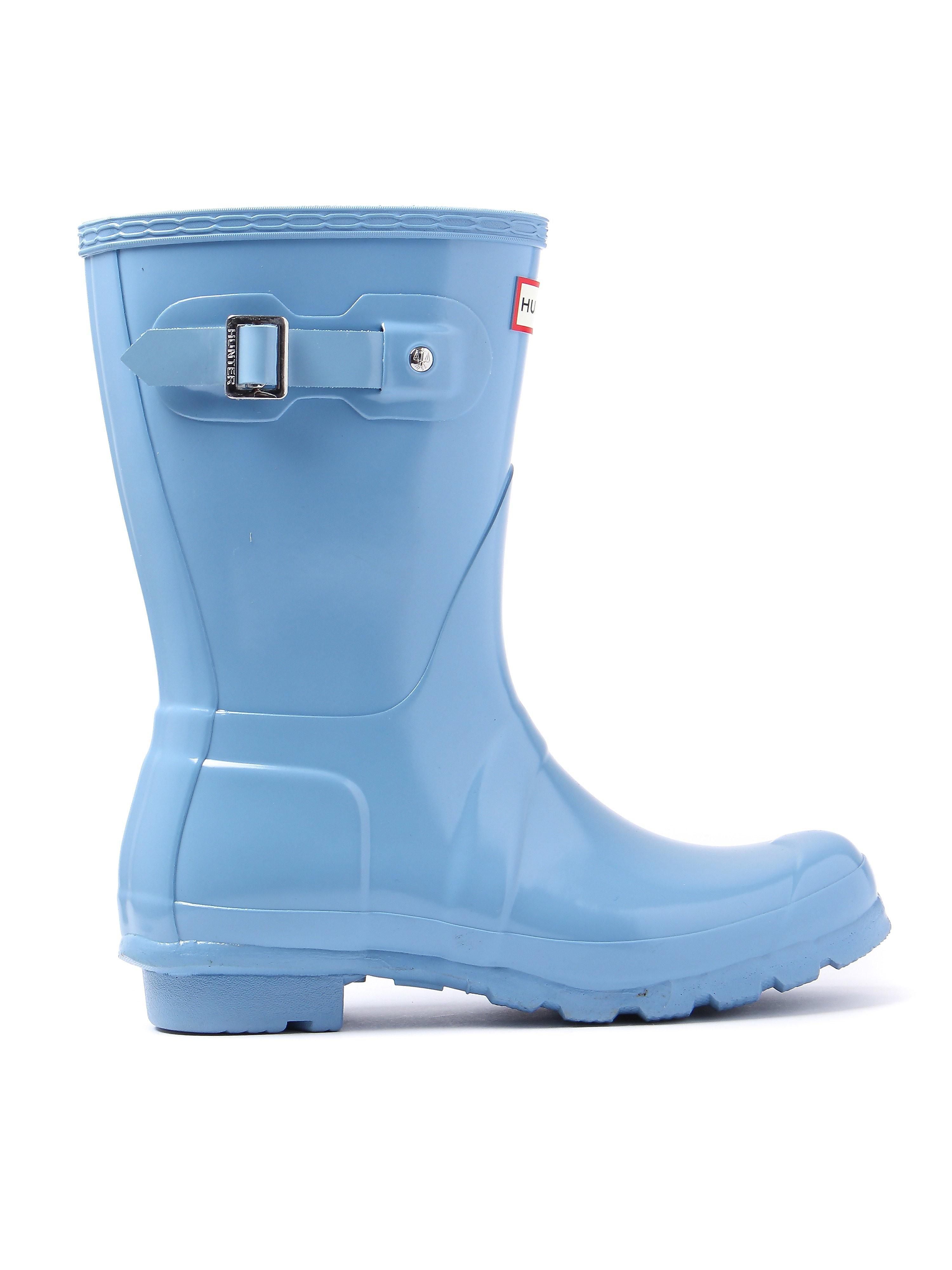 Hunter Wellies Women's Original Short Wellington Boots - Pale Blue Gloss