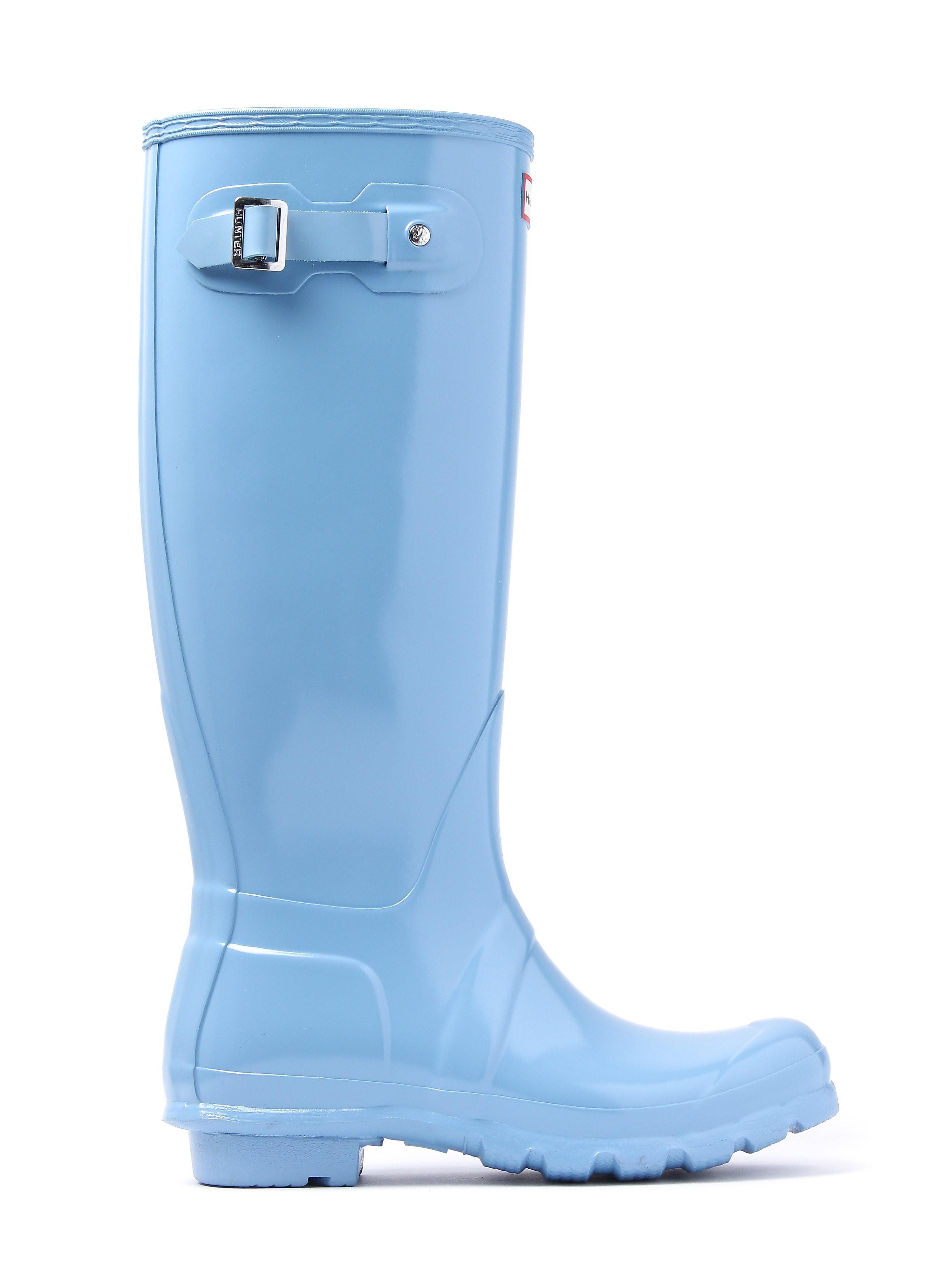 Hunter Wellies Women's Original Tall Wellington Boots - Pale Blue Gloss