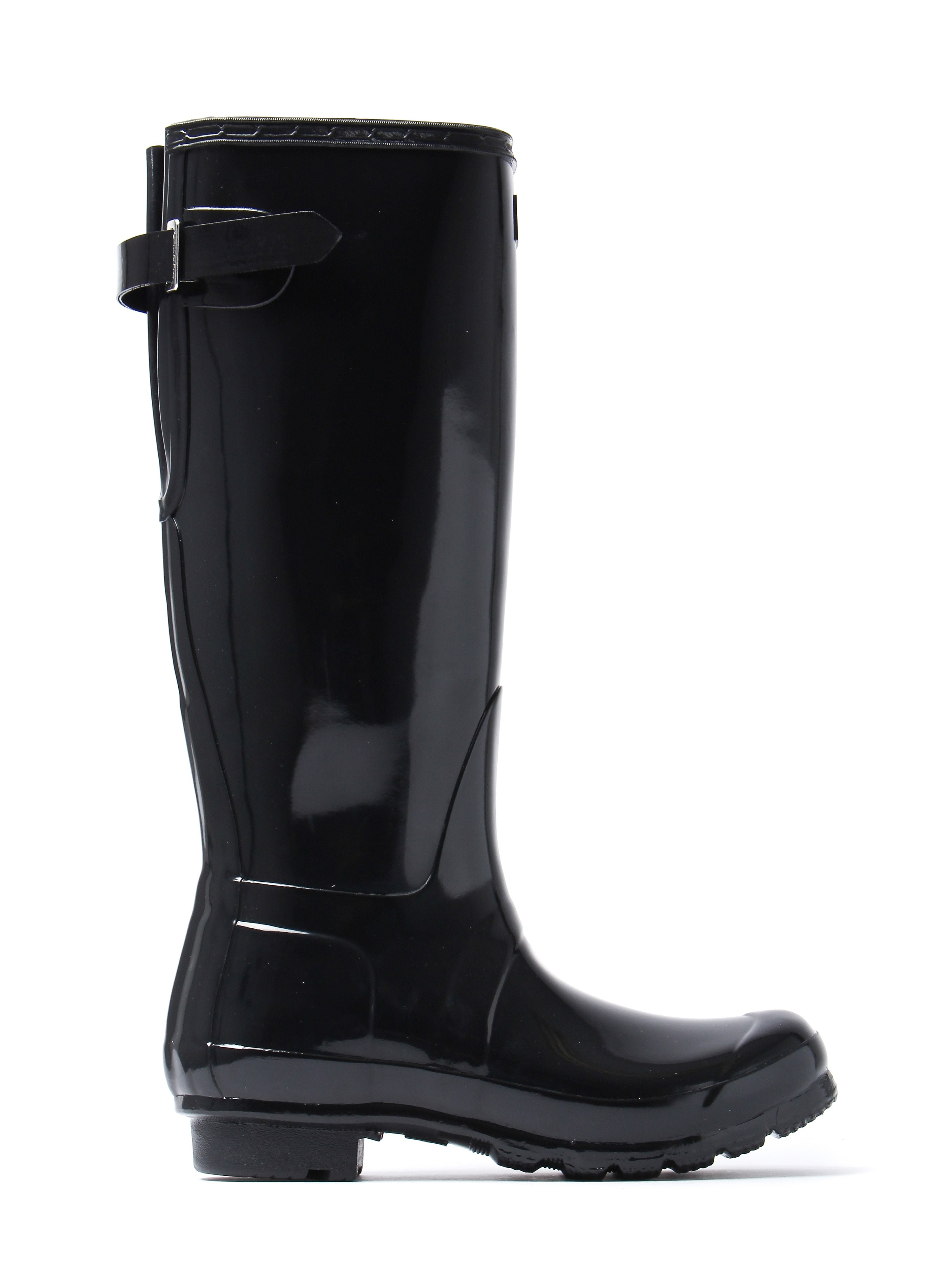Hunter Wellies Women's Original Back Adjustable Wellington Boots - Black Gloss