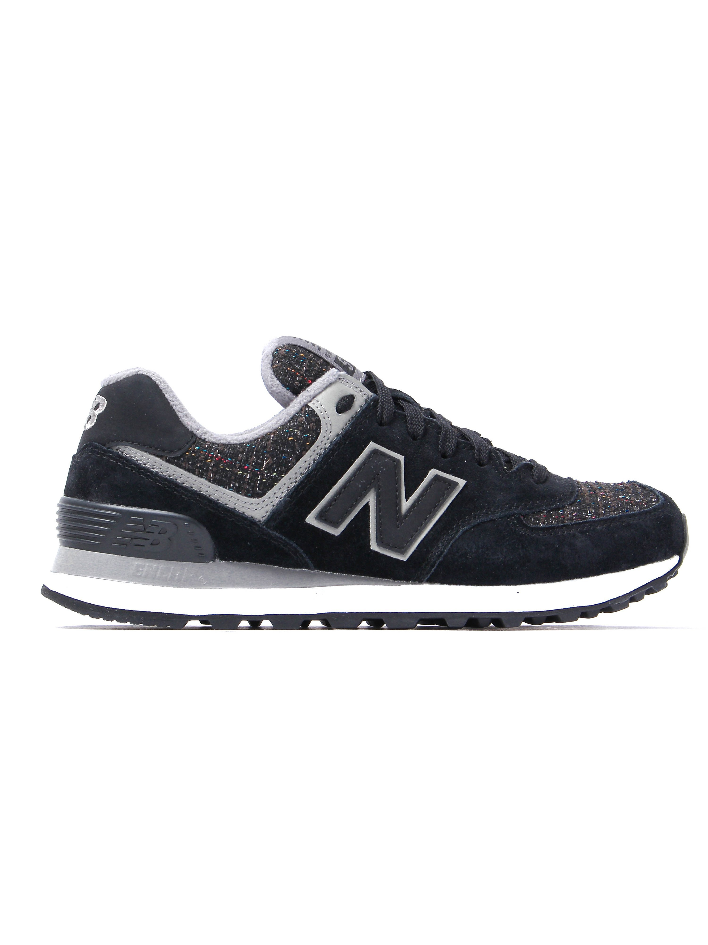 New Balance Women's 574 Trainers - Black Suede