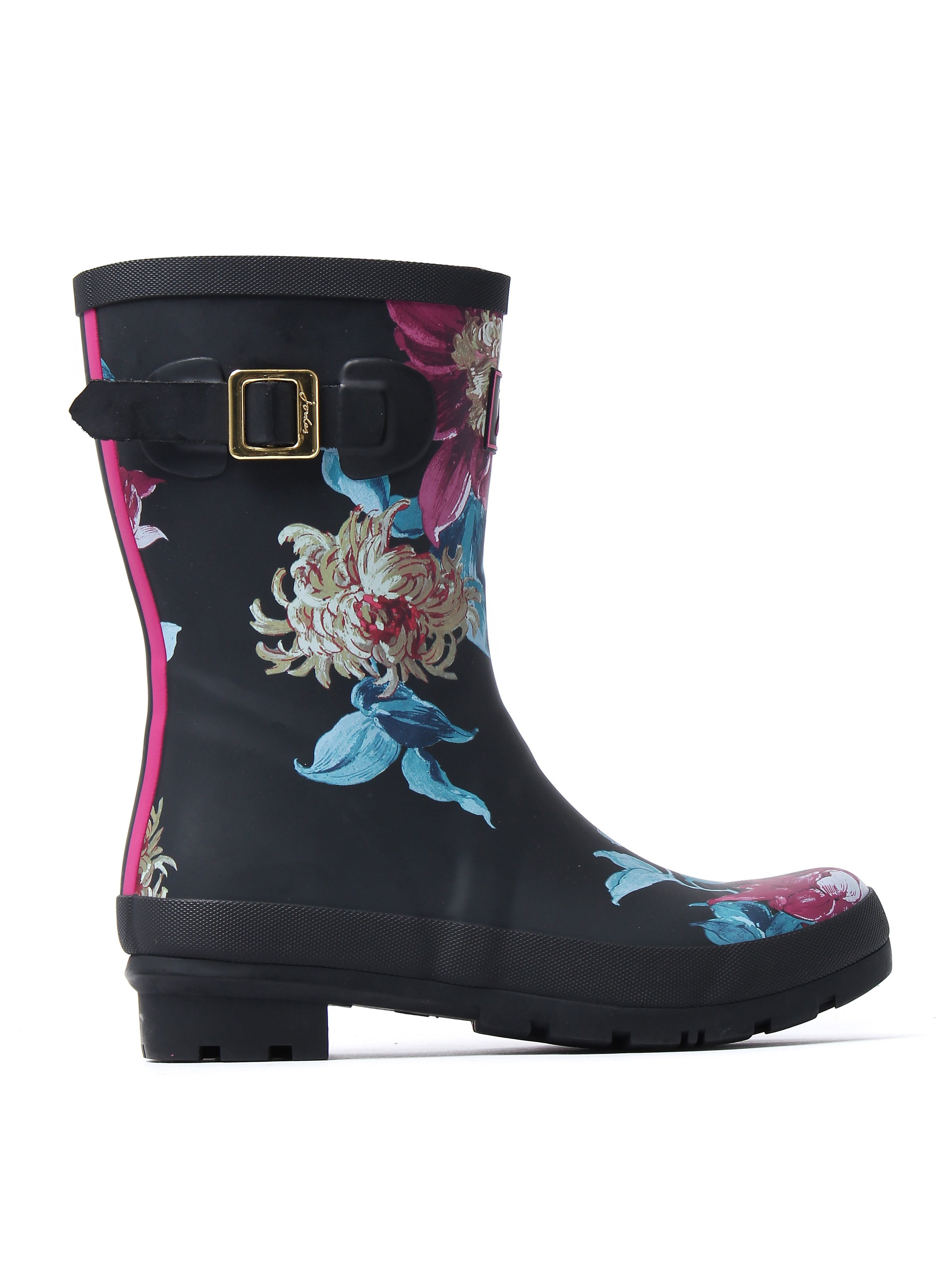 Joules Women's Molly Rubber Mid-Height Wellington Boots - Black Clematis