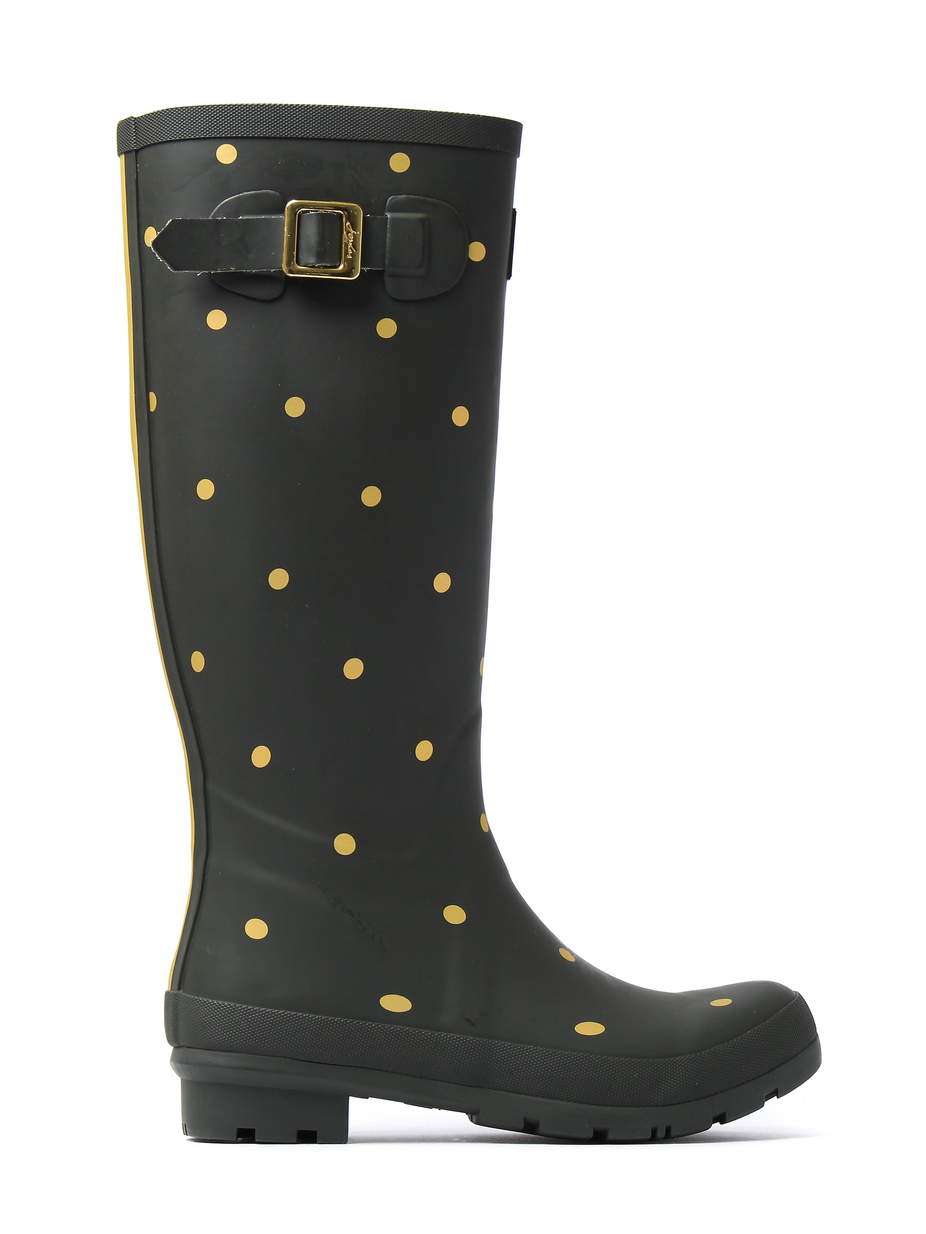 Joules Women's Wellyprint Gold Spot Wellington Boots - Woodland Green