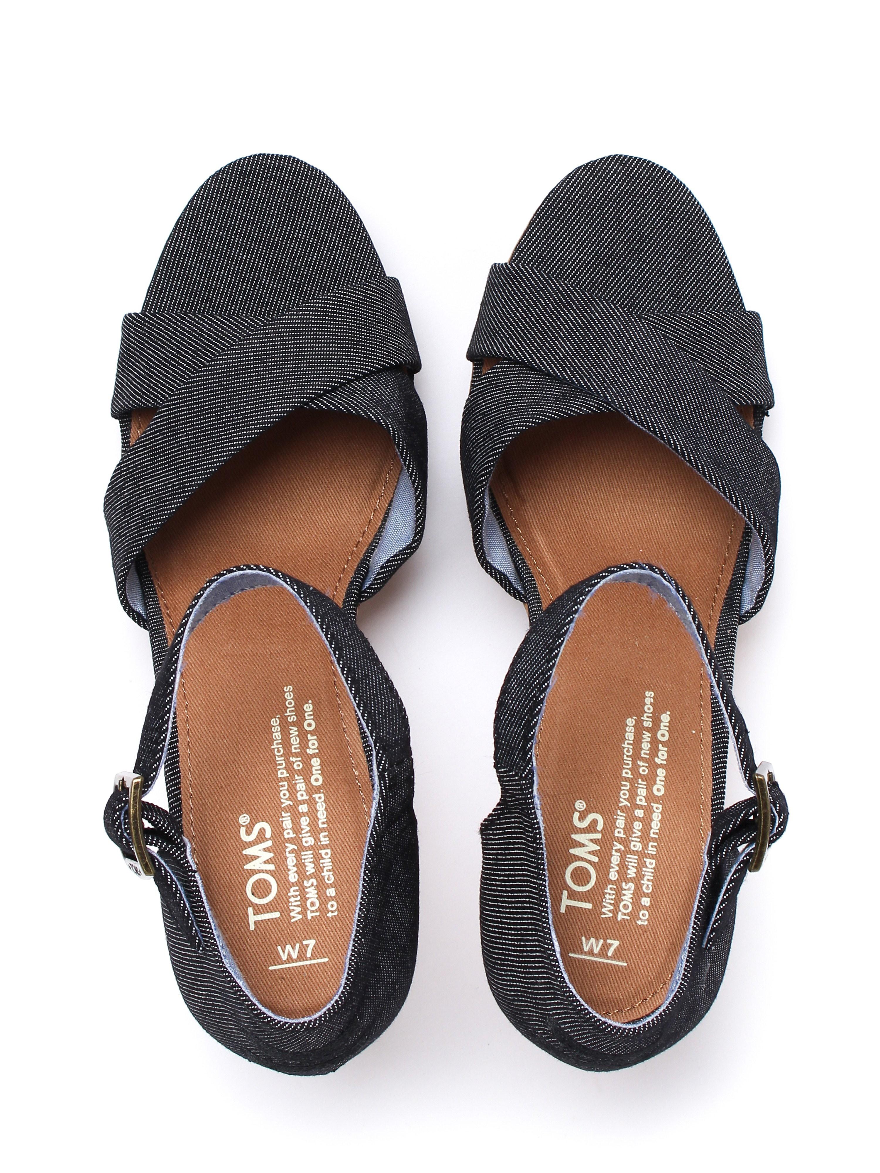 Toms Women's Sienna Cork Sandals - Black Denim